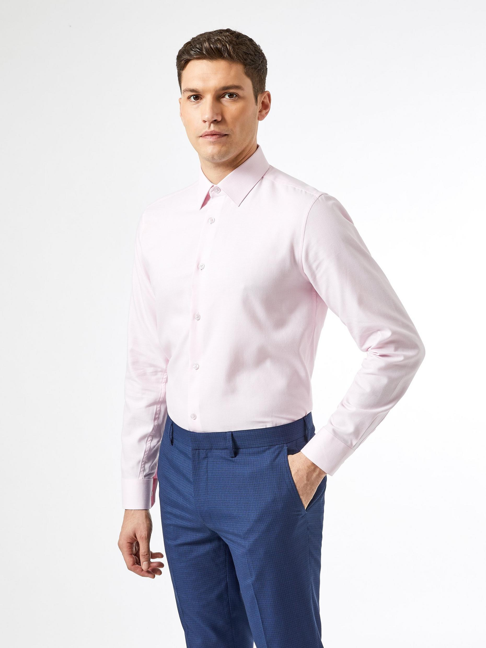 Pink Tailored Fit Puppytooth Shirt