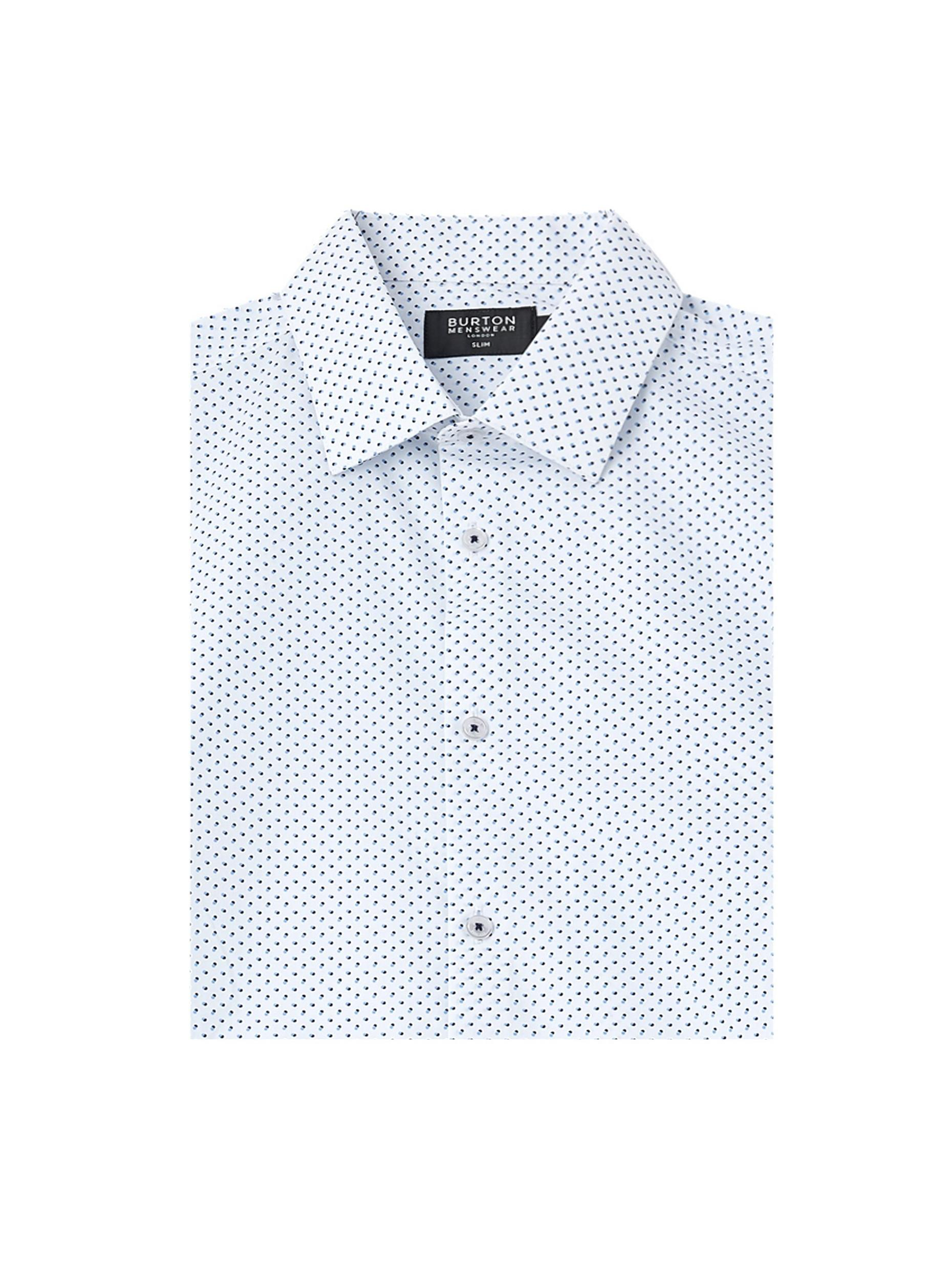Navy and Blue Slim Fit Spot Print Shirt