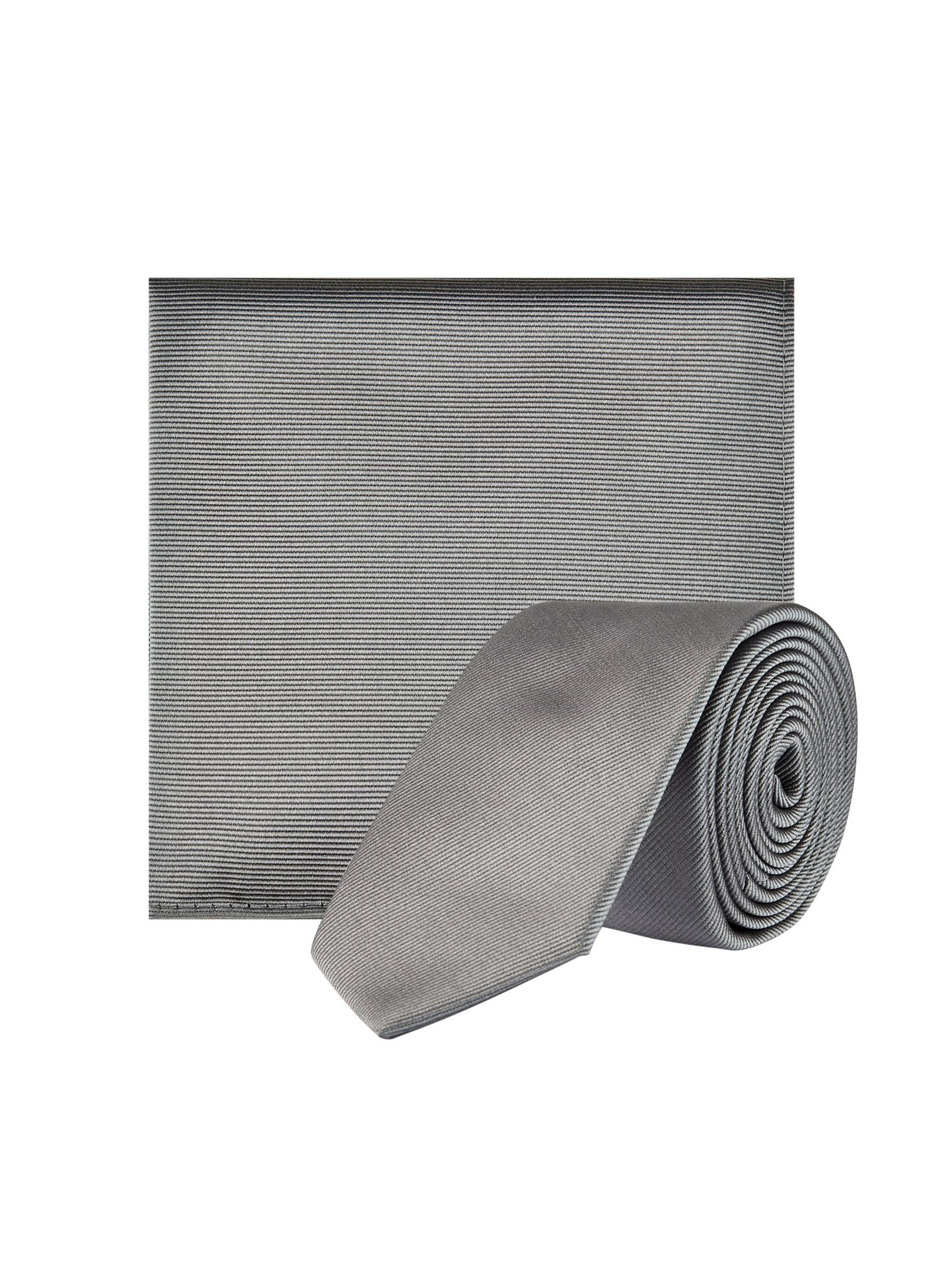 Grey Tie and Matching Pocket Square Set