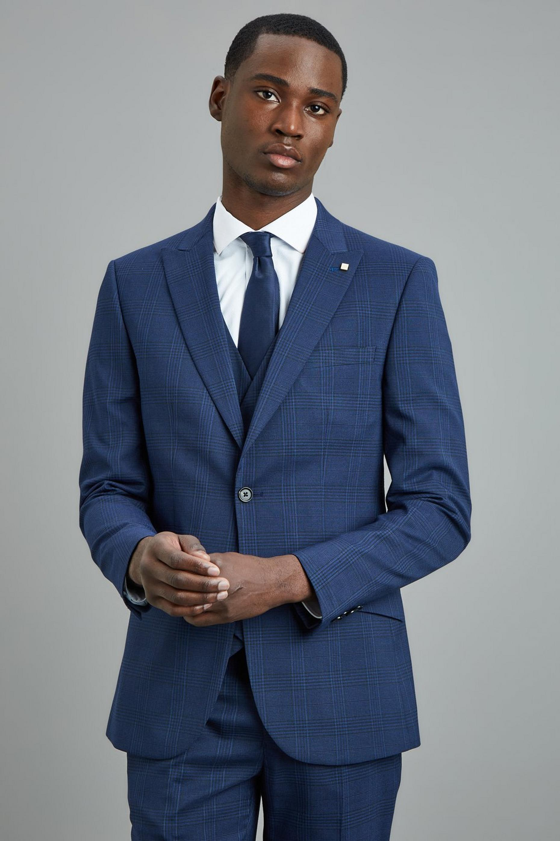 Navy Highlight Check Skinny Fit Suit Jacket