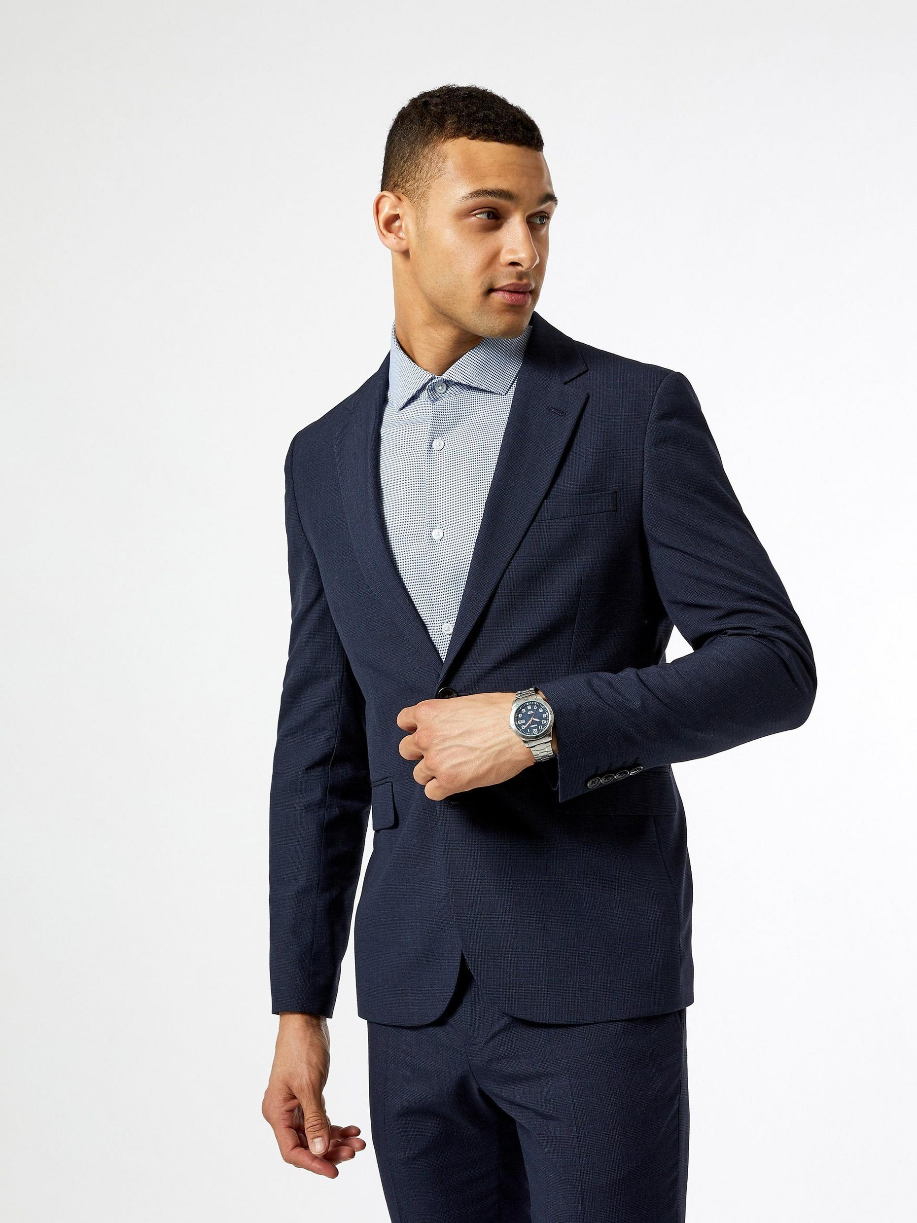 Mid Blue Jaspe Check Skinny Fit Suit Jacket