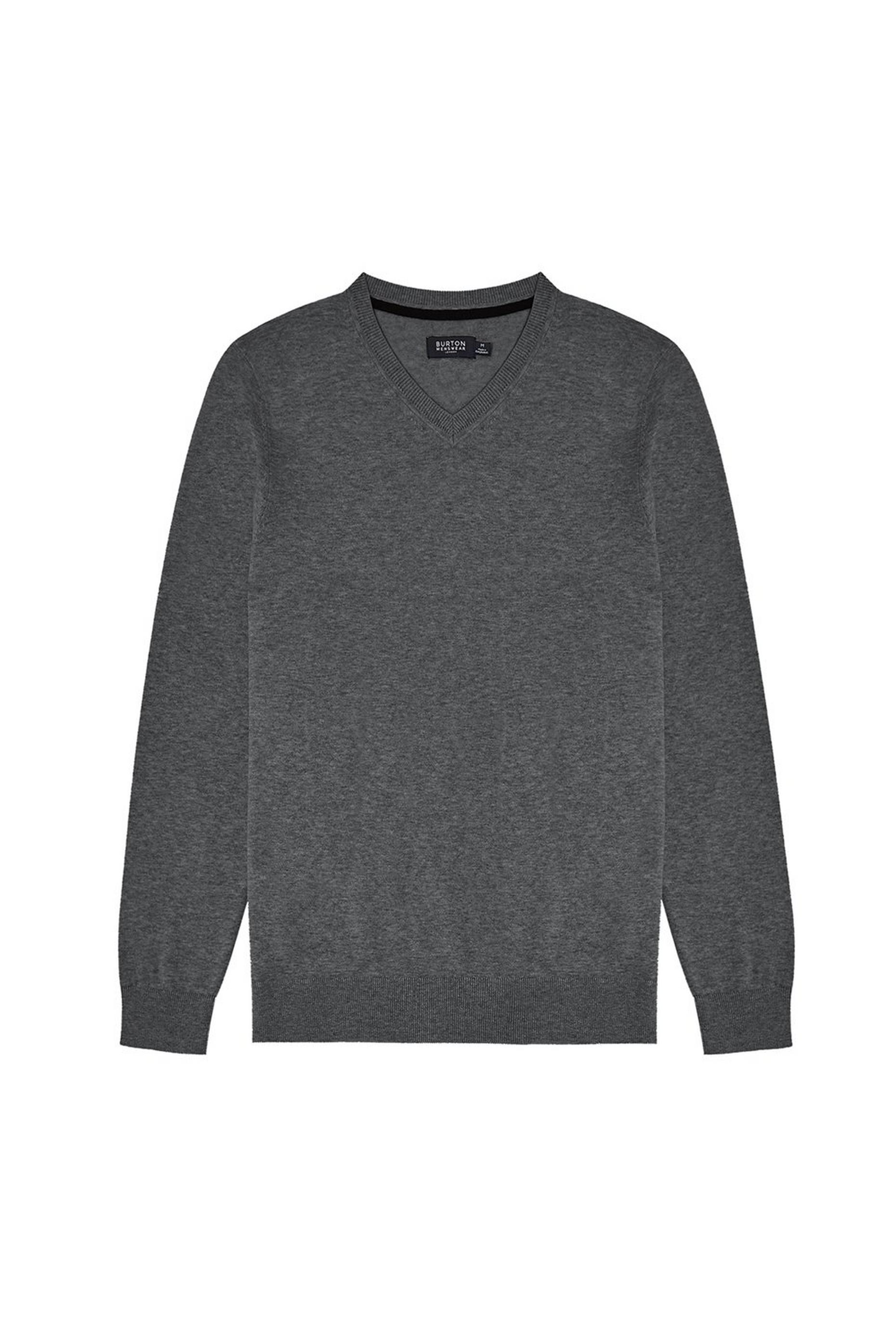 Charcoal Grey V Neck Jumper With Organic Cotton