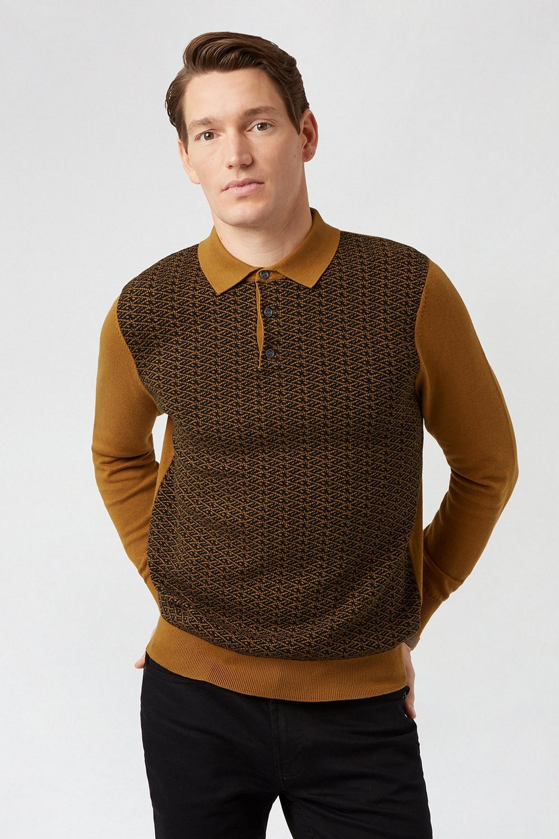 Tobacco Stitch Polo Jumper