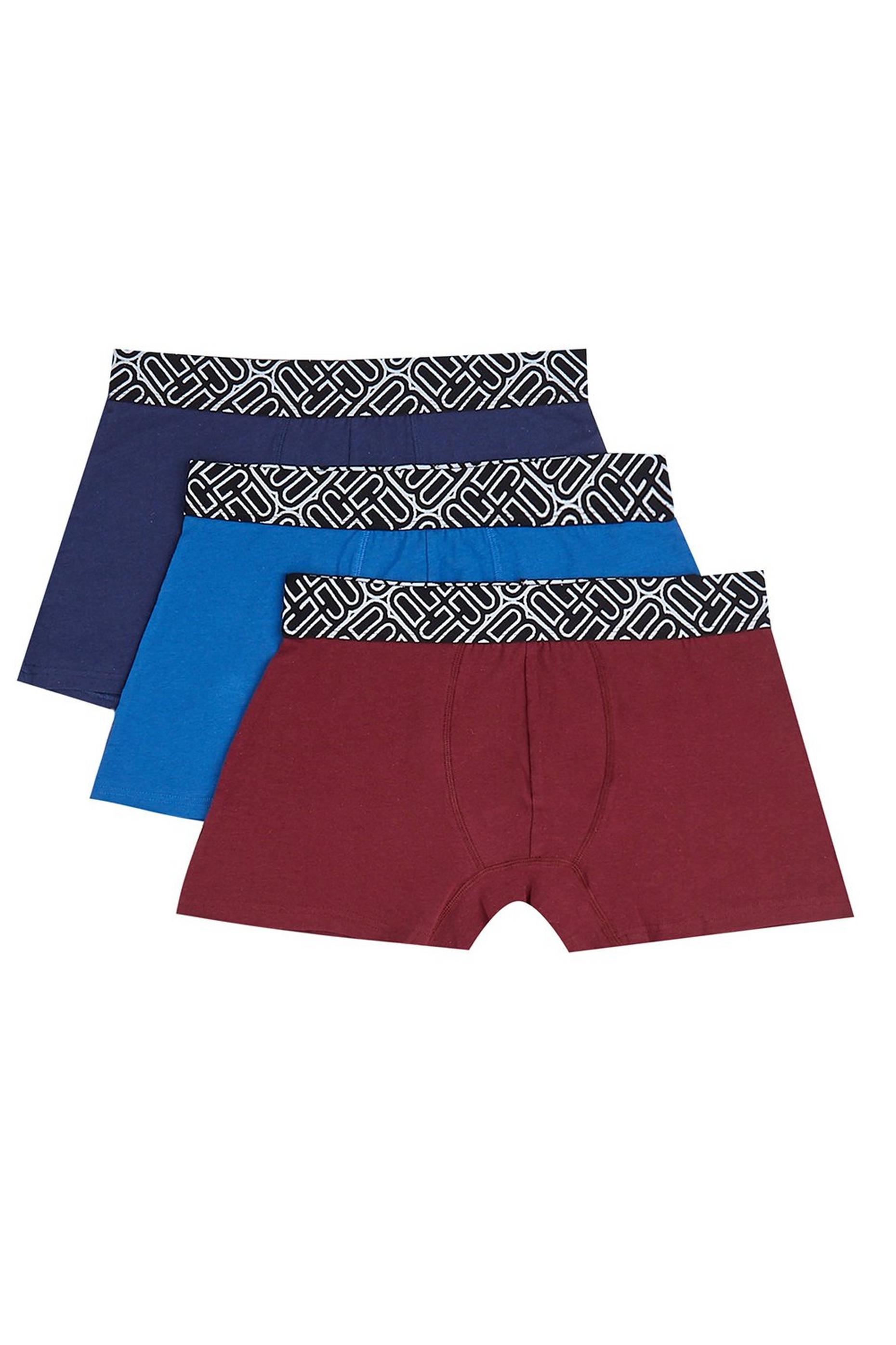 3 Pack Multicolored Jacquard Waistband Trunks