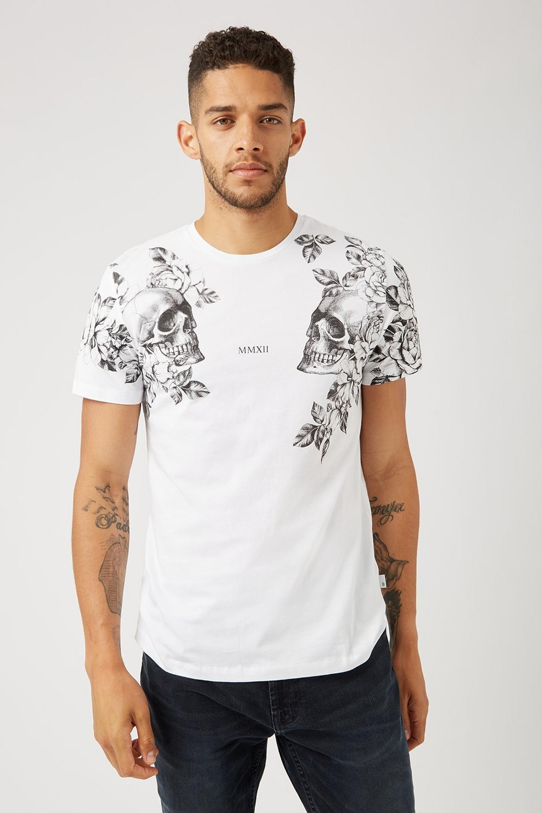 White Skull Graphic T Shirt