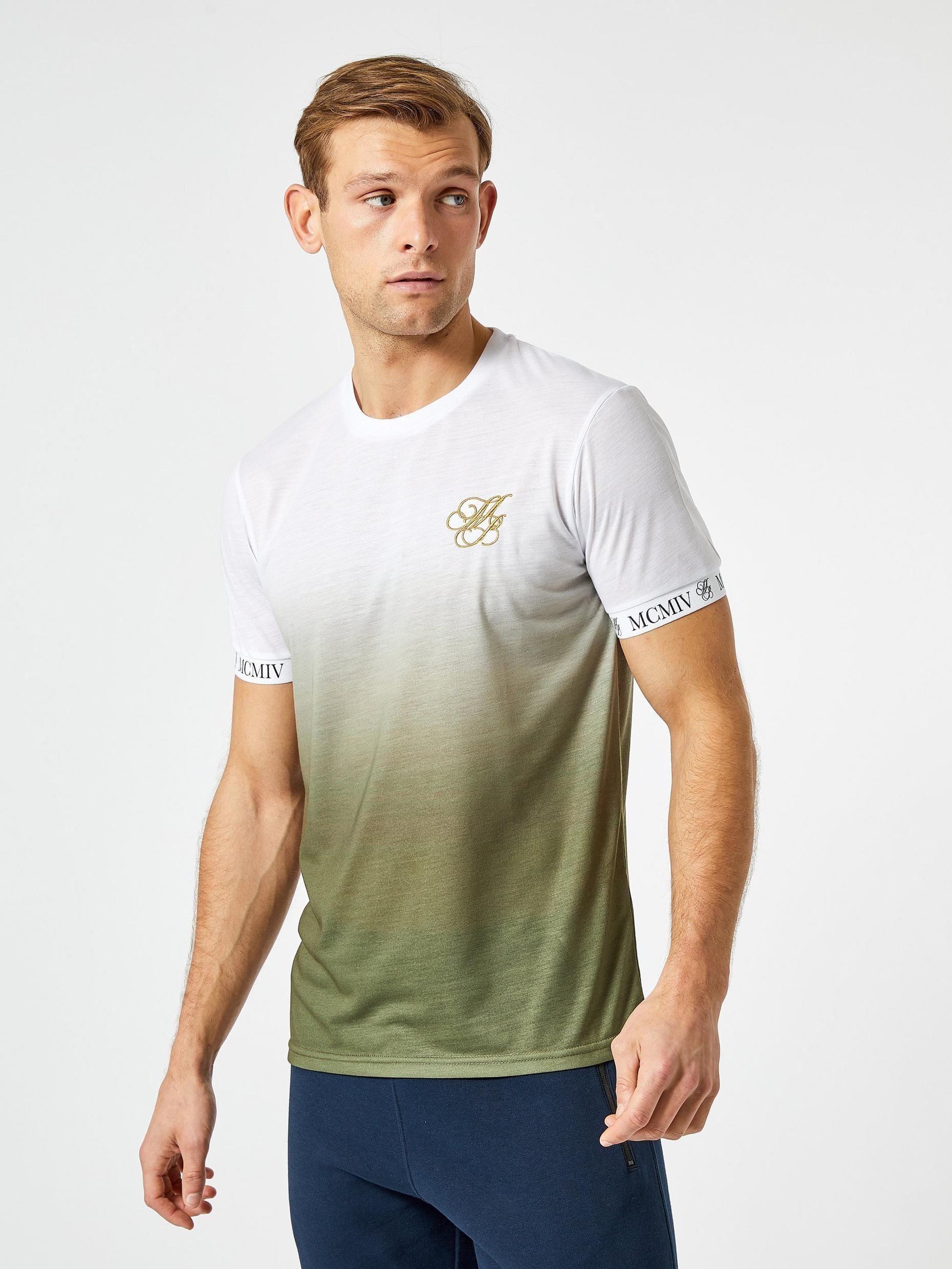 Khaki and White Ombre TShirt with MB Embroidery