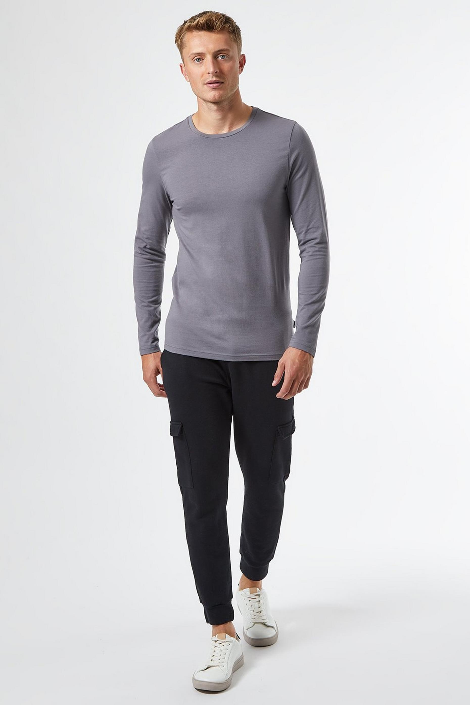 Grey Long Sleeved Muscle Fit TShirt