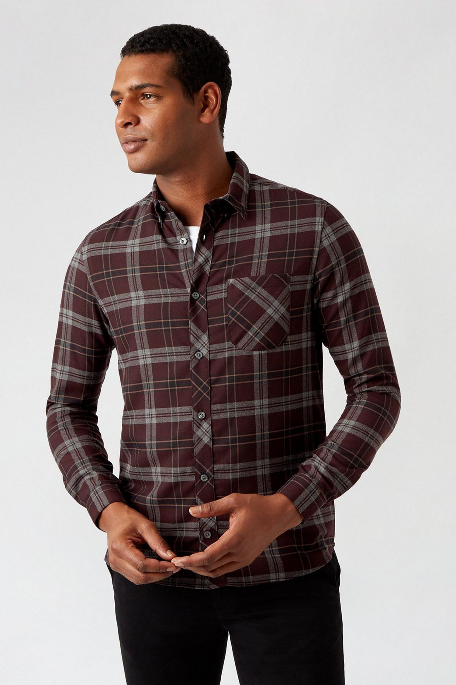 156 Purple Long Sleeve Check Shirt image number 1
