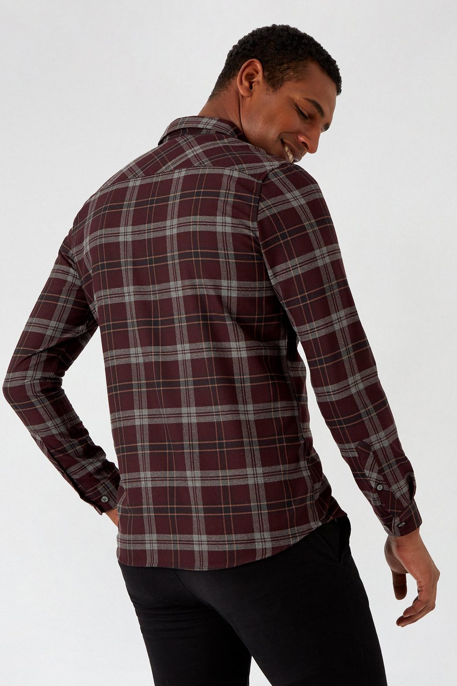 156 Purple Long Sleeve Check Shirt image number 3