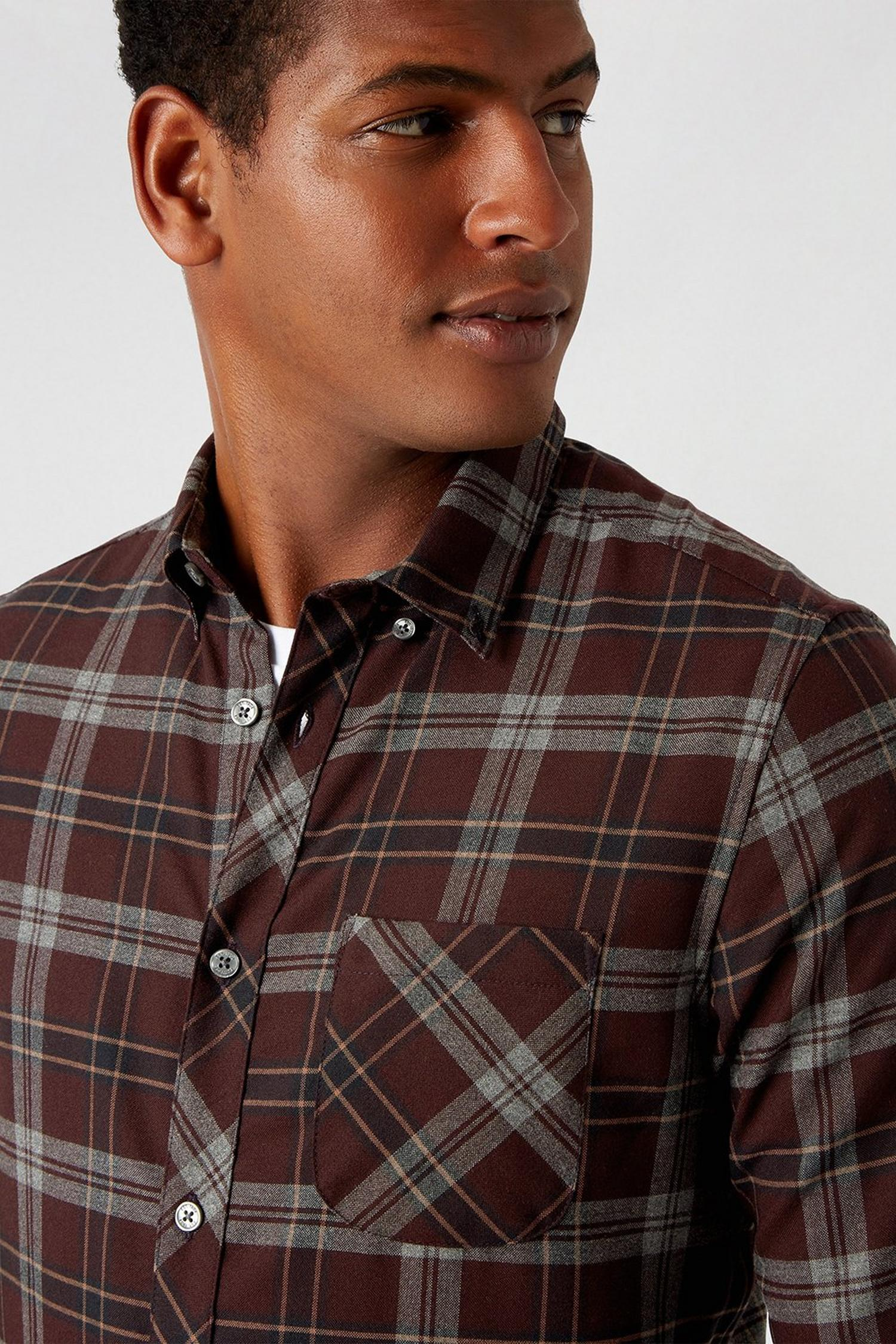 156 Purple Long Sleeve Check Shirt image number 4