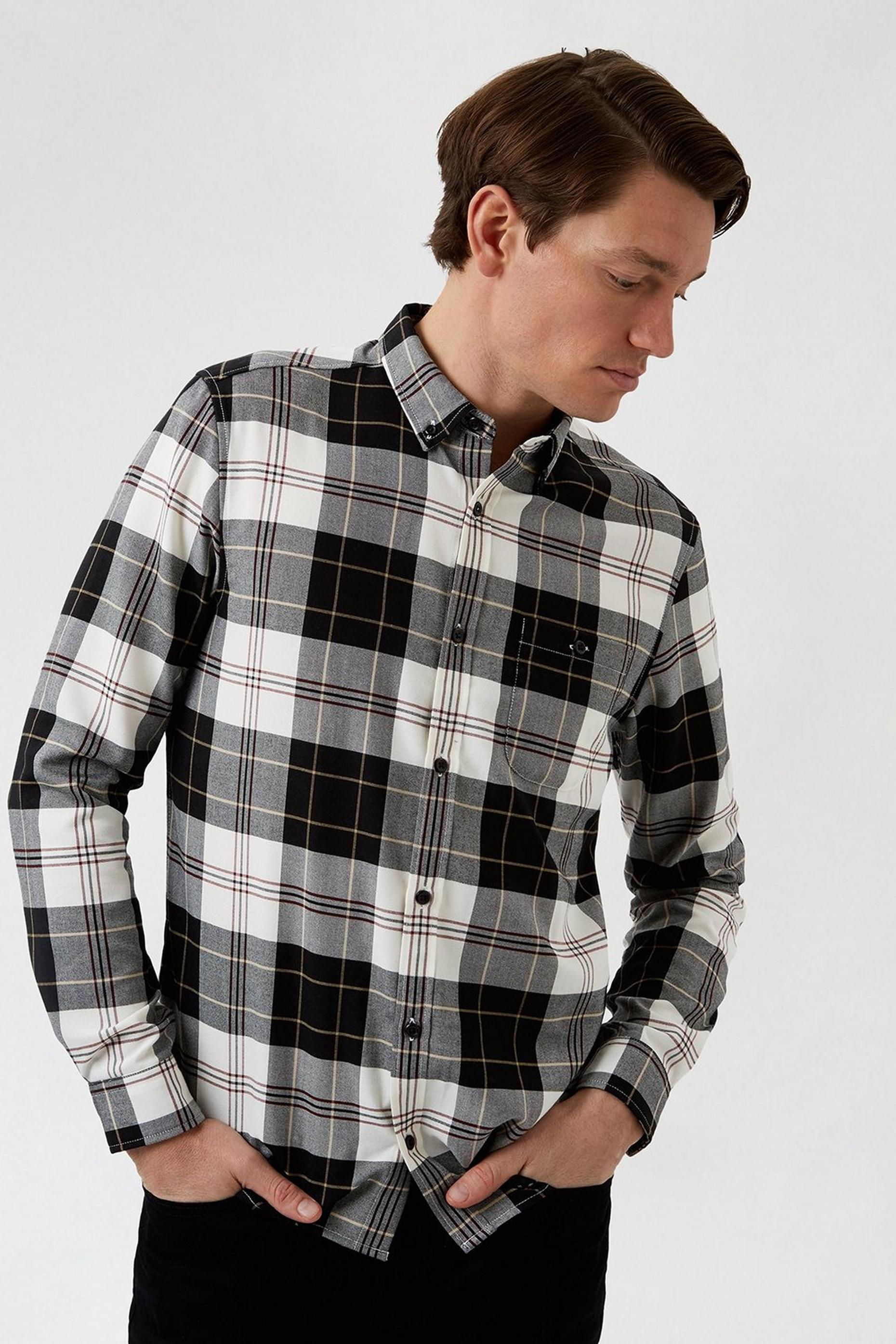 Long Sleeve White Navy Burgundy Check Shirt