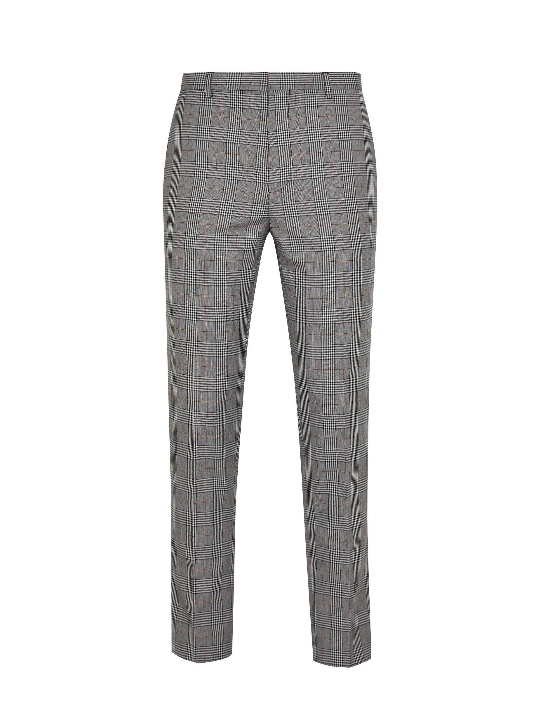 Charcoal Skinny Check Trousers