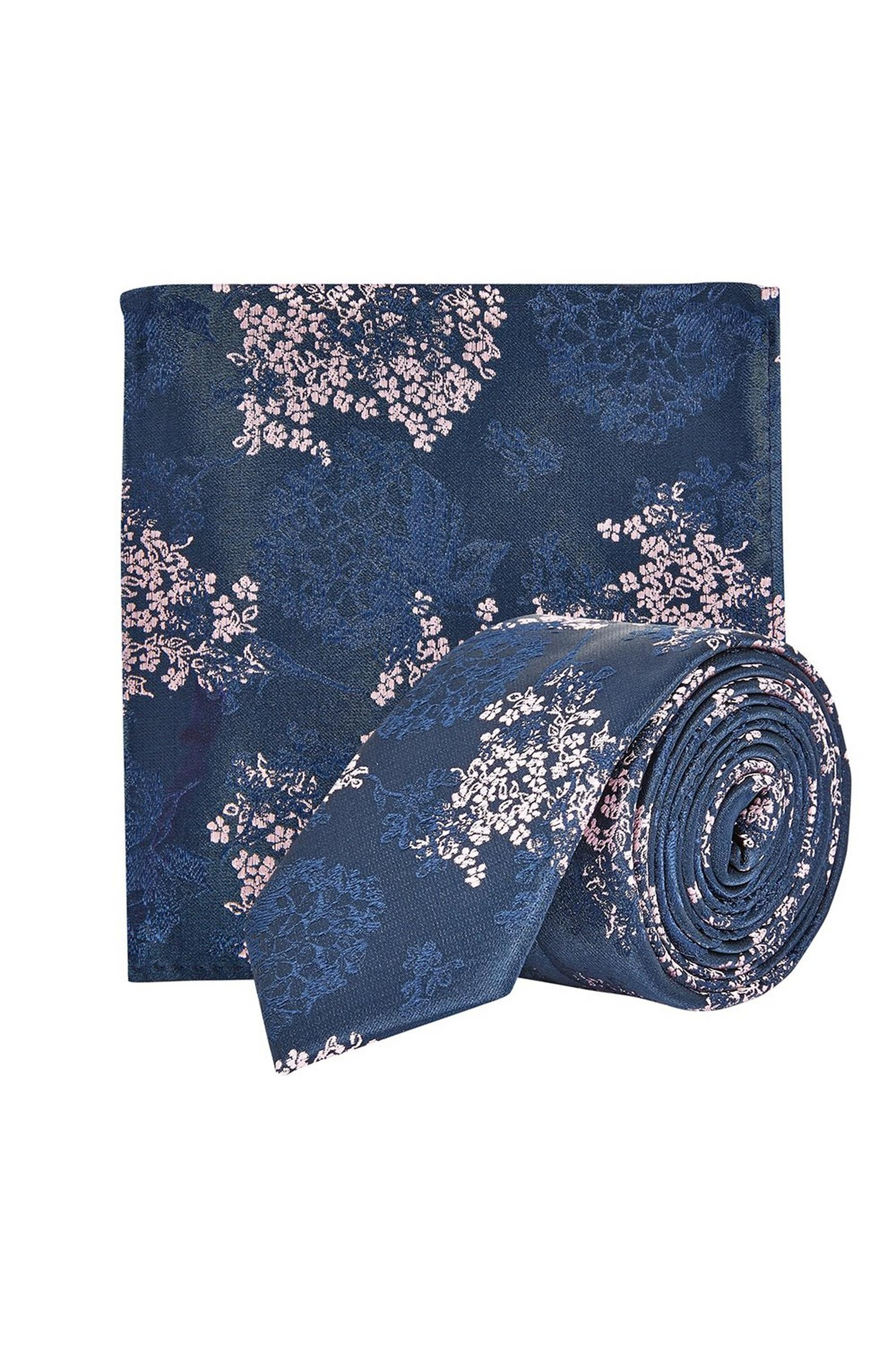 Floral Tie With Matching Pocket Square