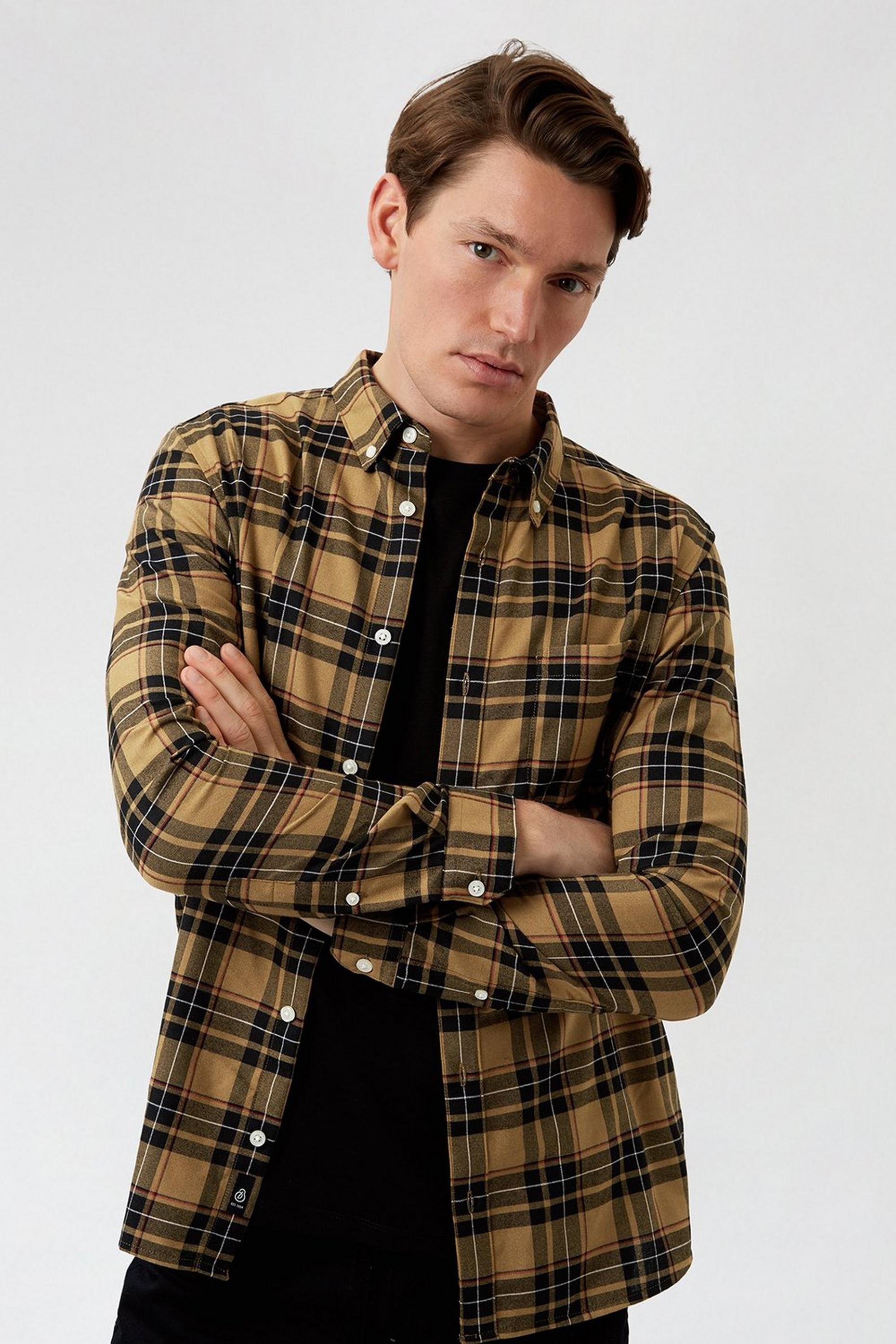 Camel Large Check Print Long Sleeve Shirt