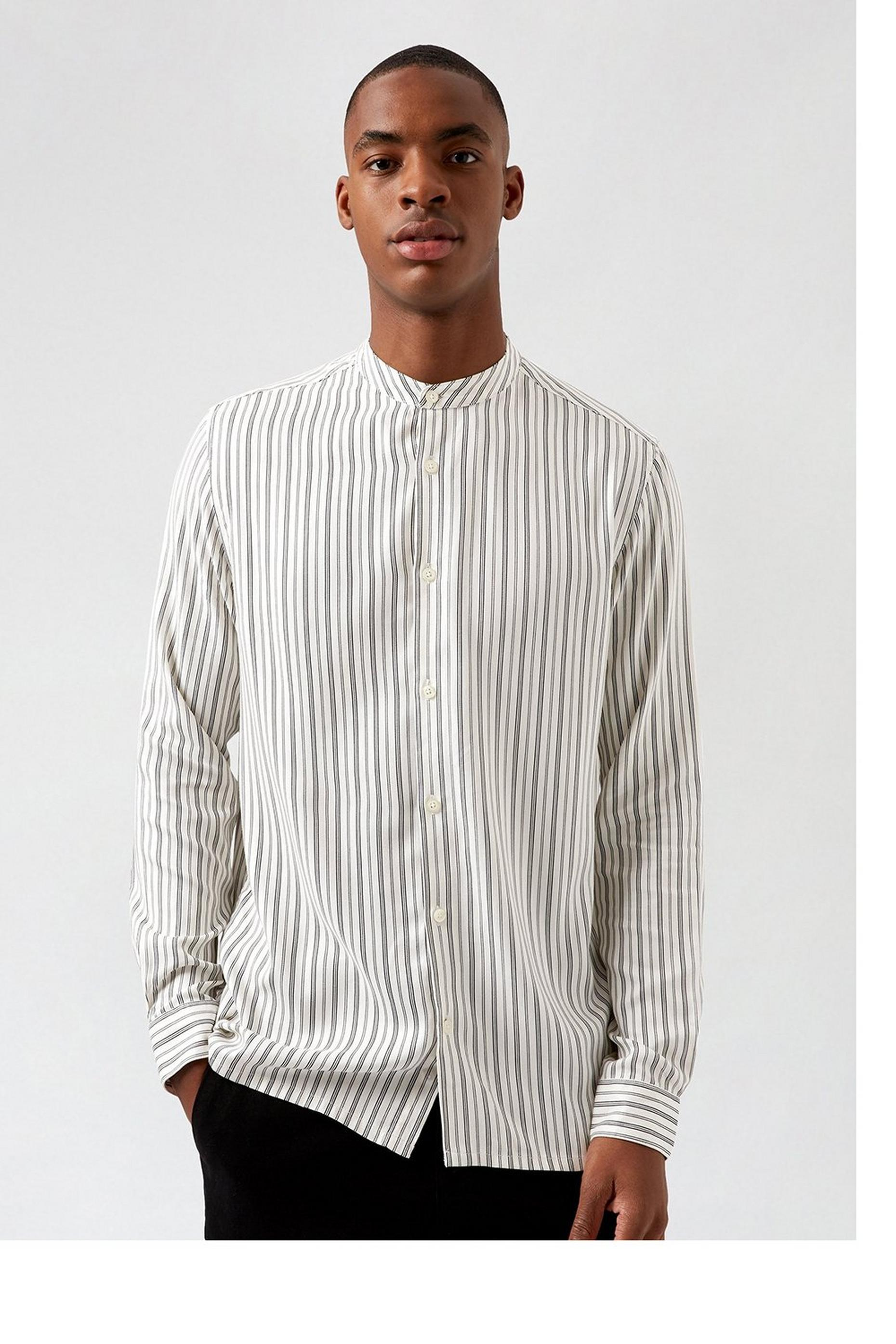 White and Black Striped Viscose Shirt