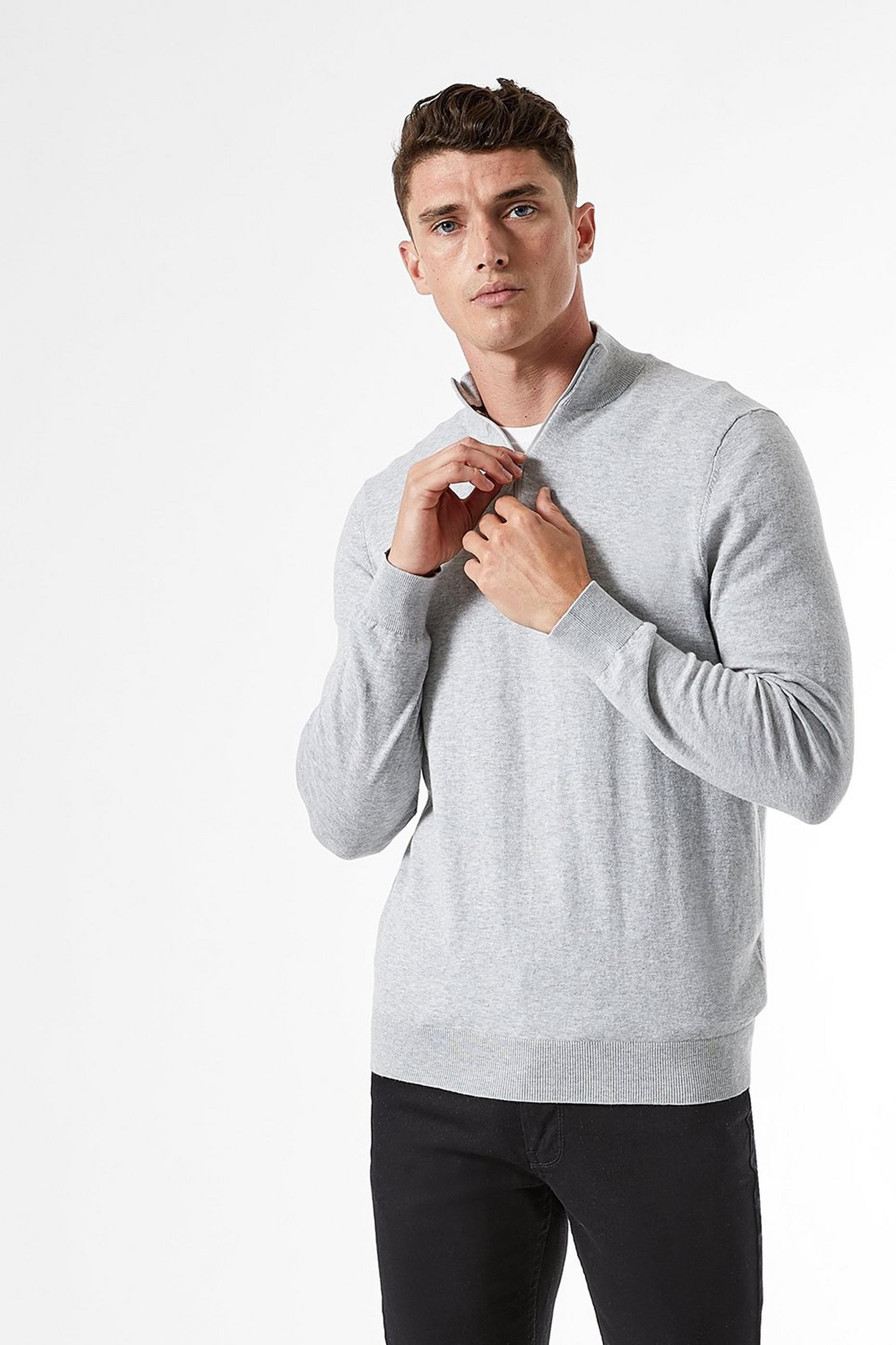 Grey Marl Half Zip Jumper with Organic Cotton
