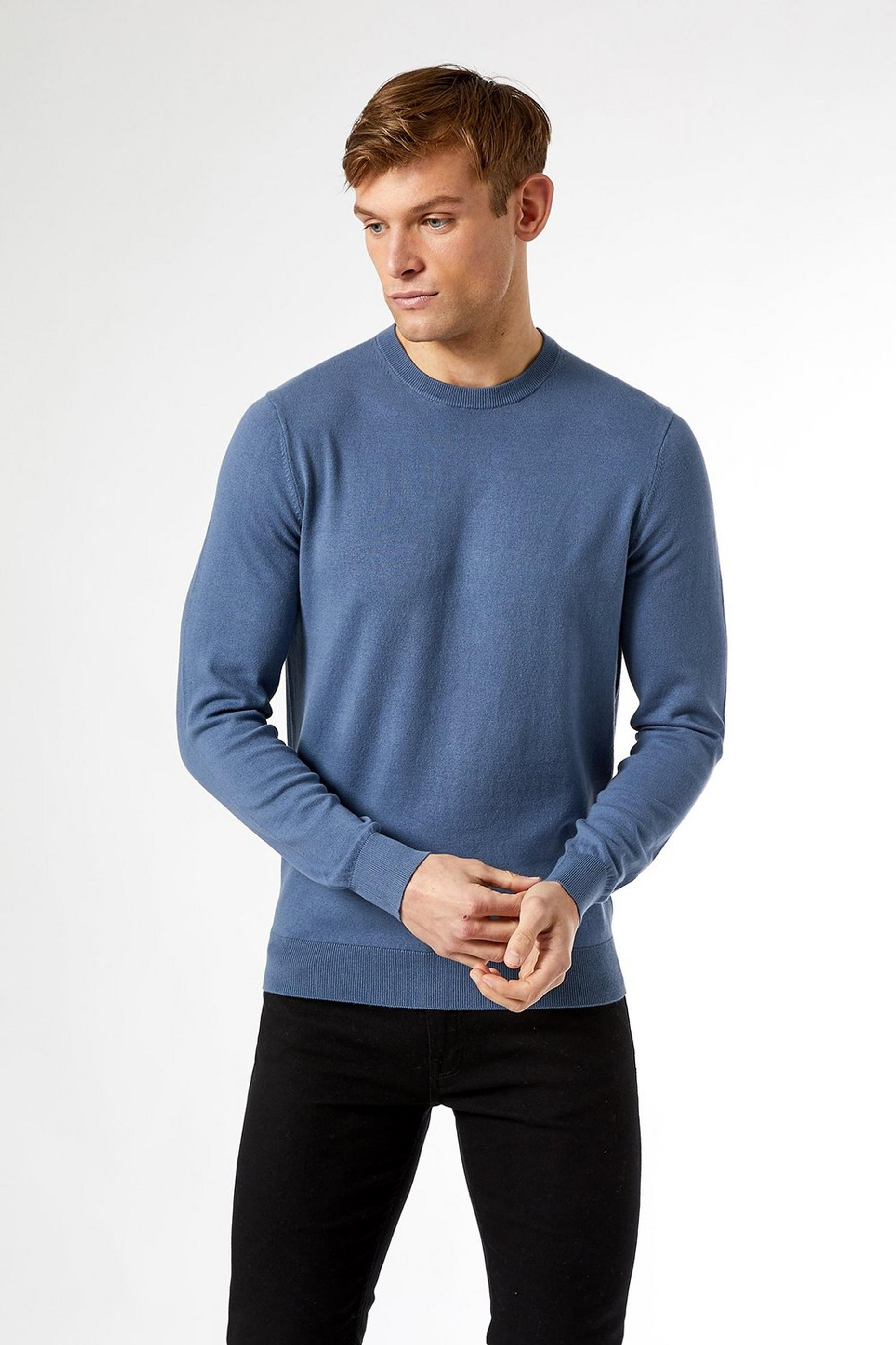 Dusty Blue Crew Jumper with Organic Cotton