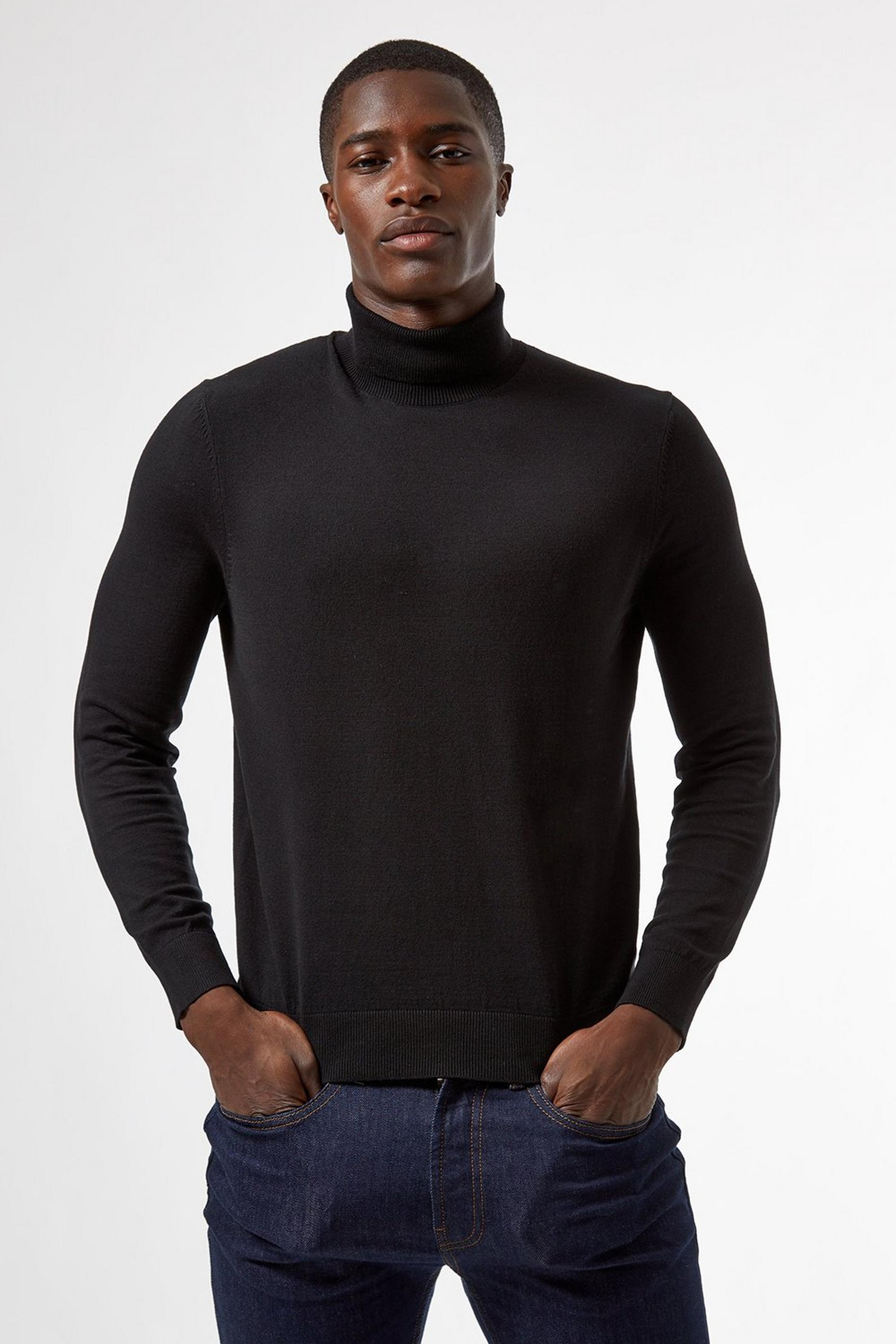 Black Roll Neck Jumper with Organic Cotton