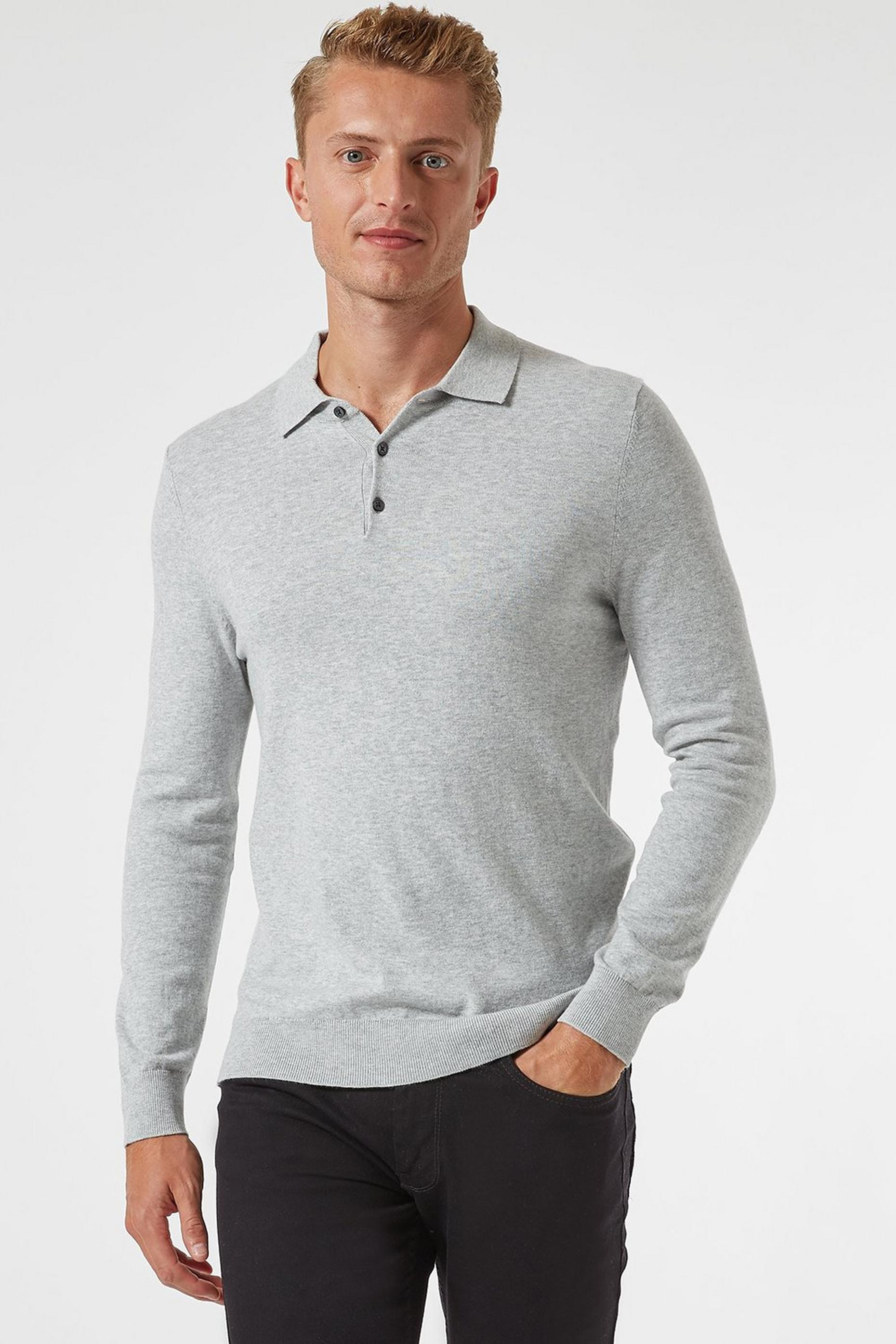 Light Grey Knitted Polo With Organic Cotton