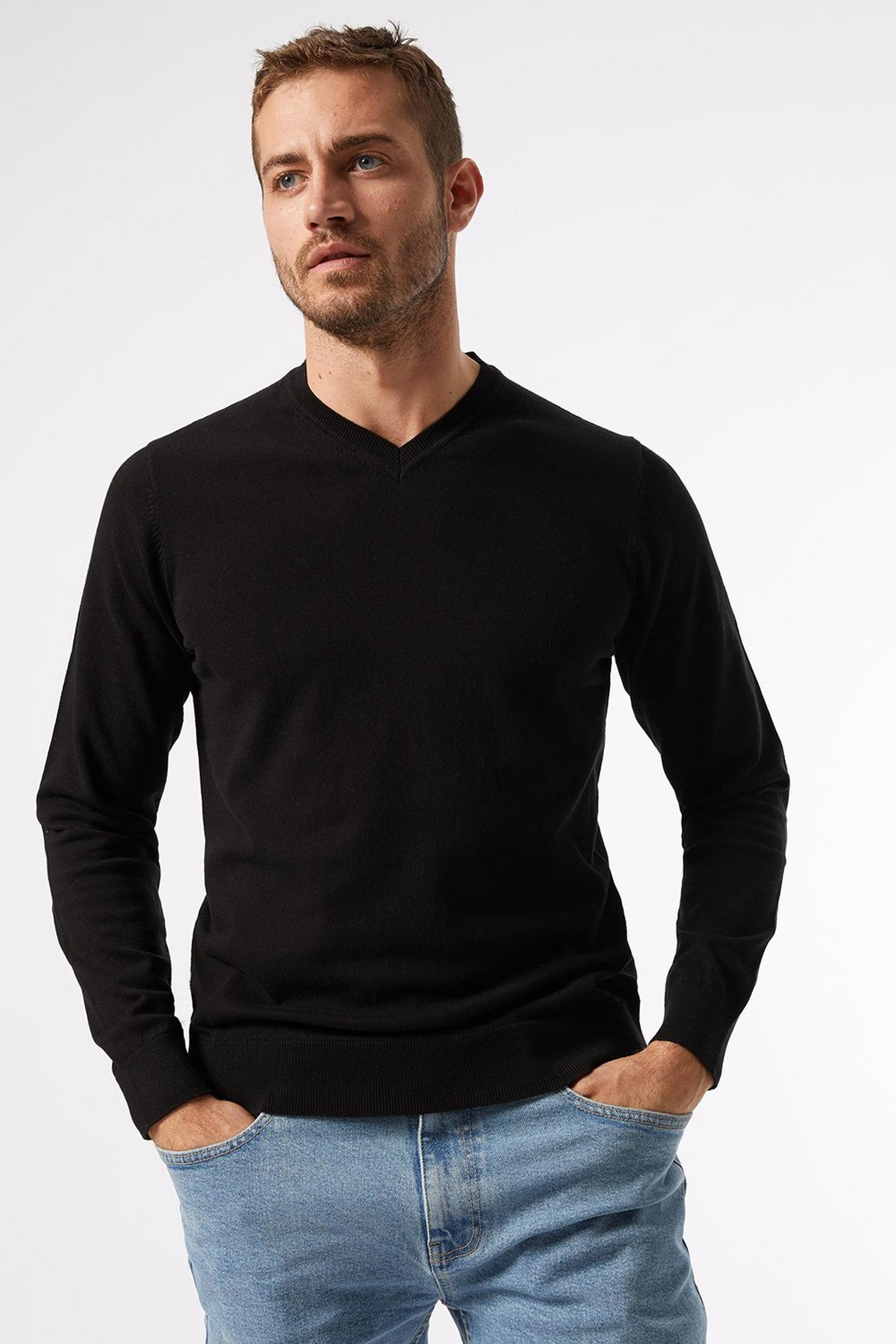 Black VNeck Jumper With Organic Cotton