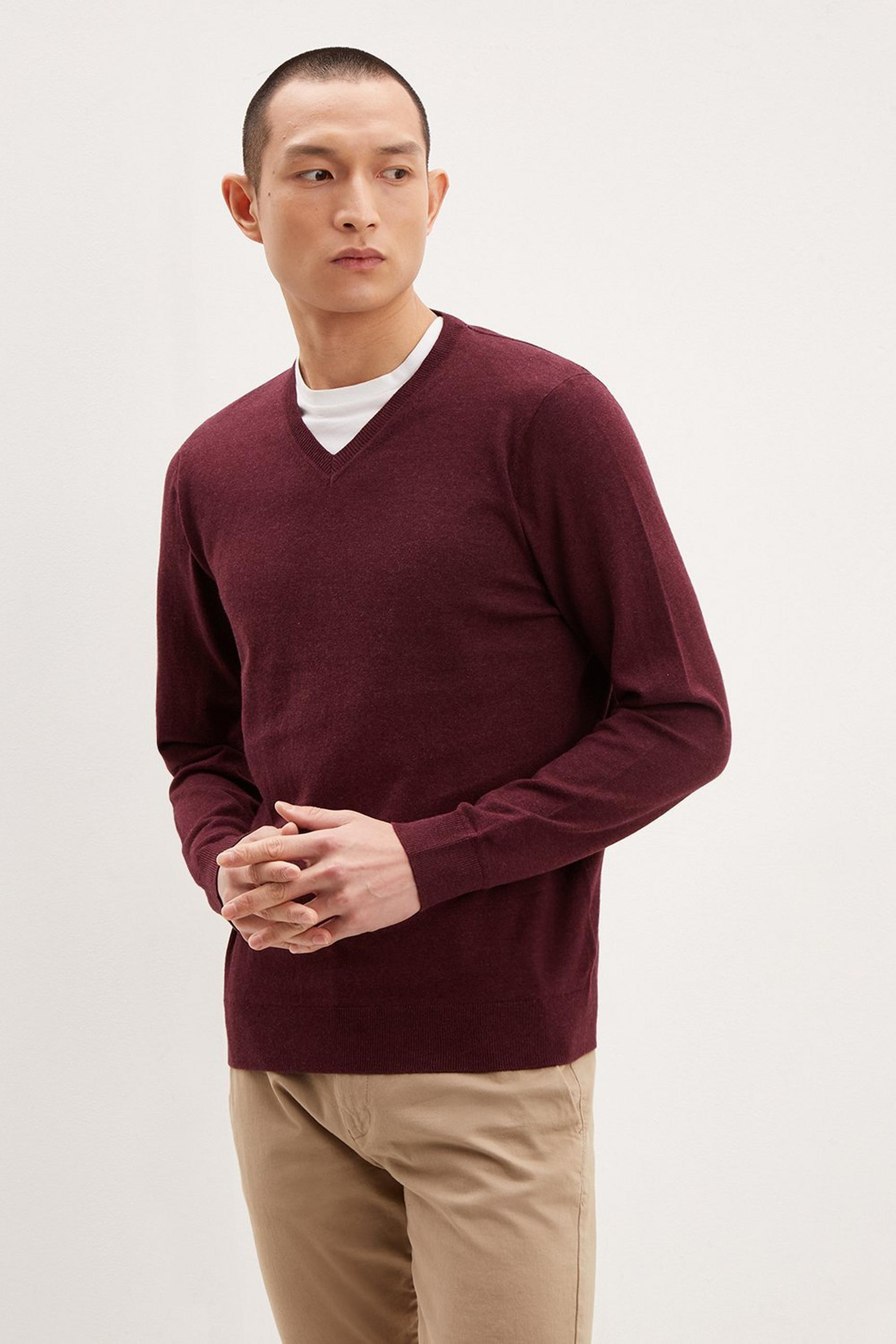 Burgundy VNeck Jumper with Organic Cotton
