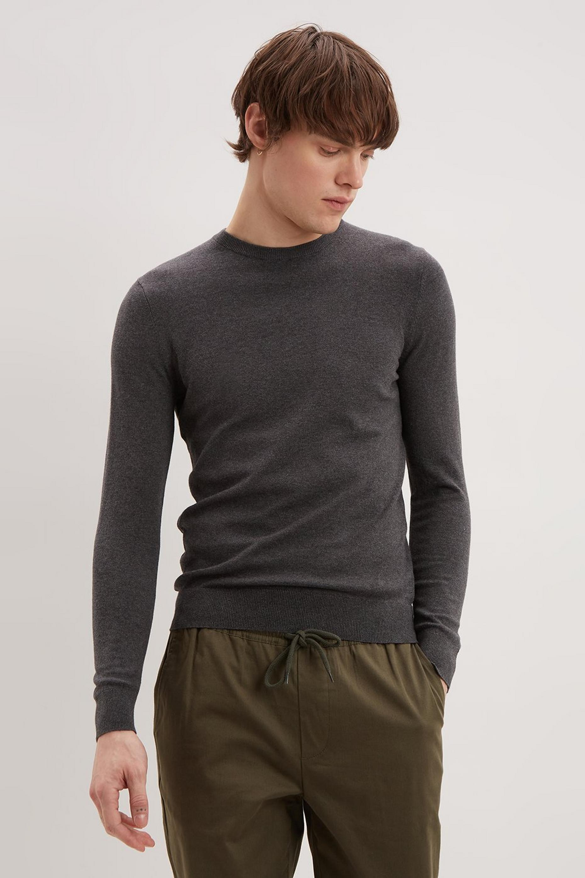 Charcoal Grey Crew Neck Jumper with Organic Cotton