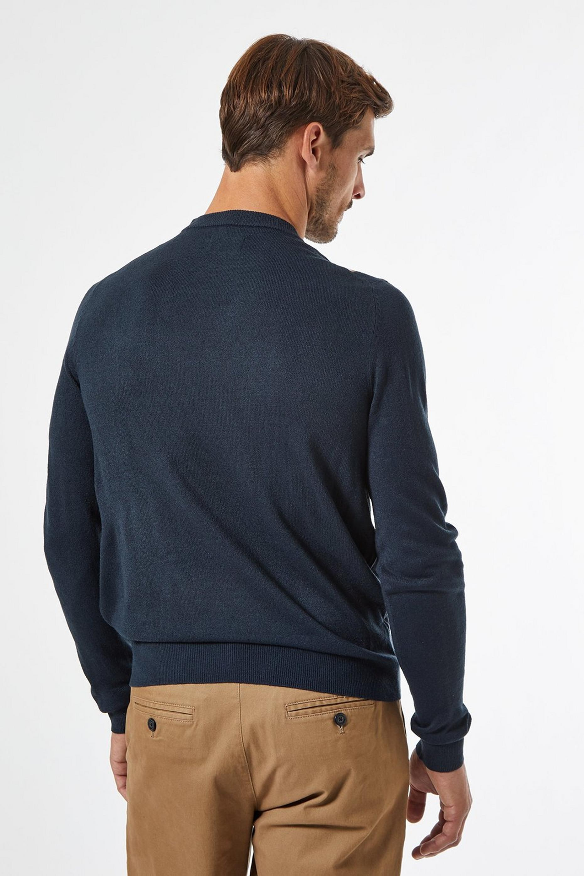 Navy & Tobacco Vertical Stripe Crew Neck Jumper