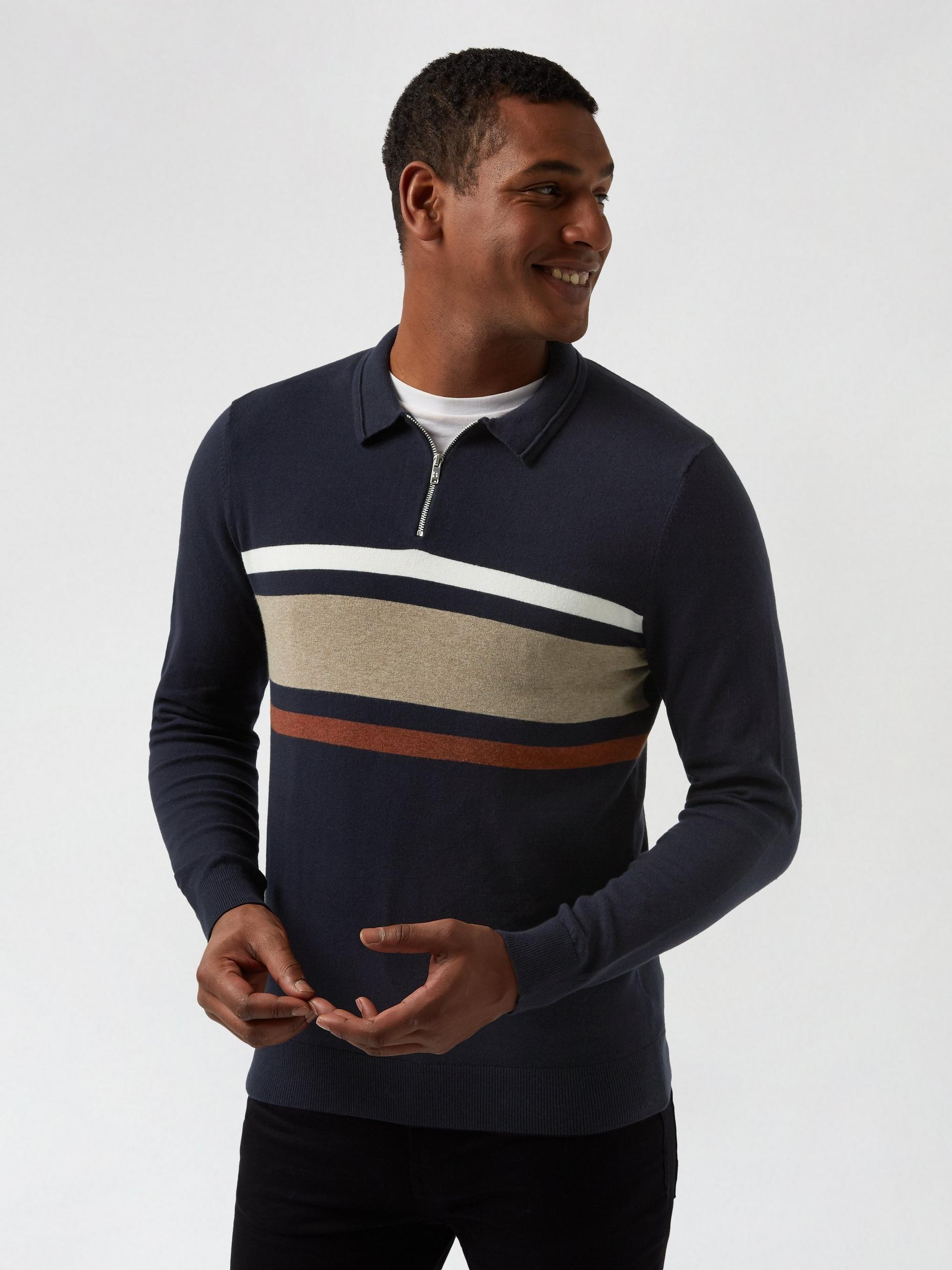 Navy Chest Stripe Polo Jumper