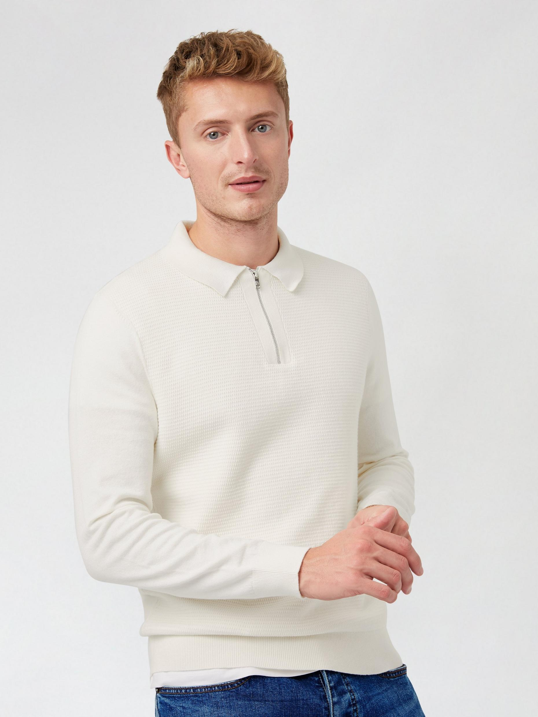 White Text Zip Polo Jumper