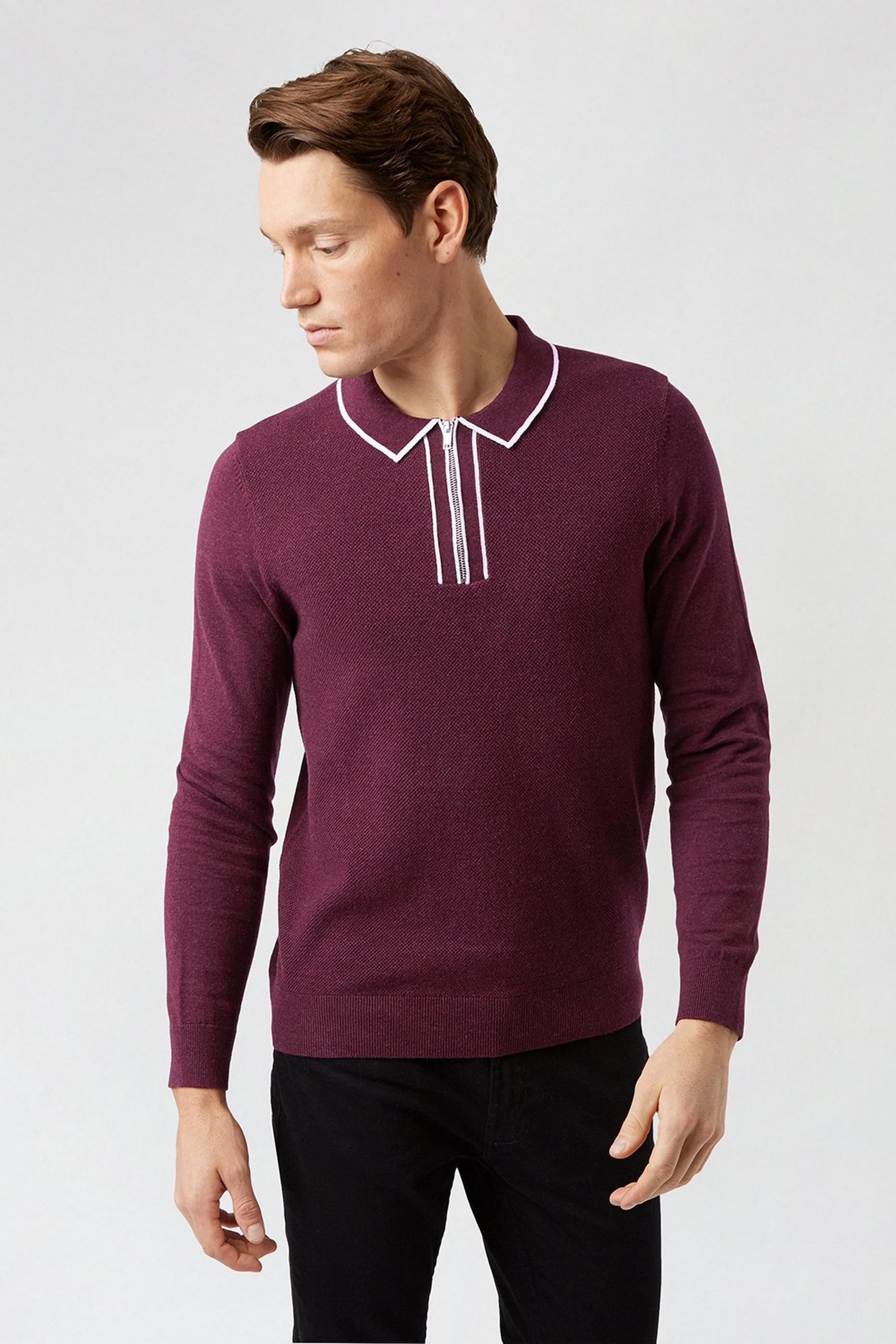 Burgundy Texture Tipped Polo Jumper