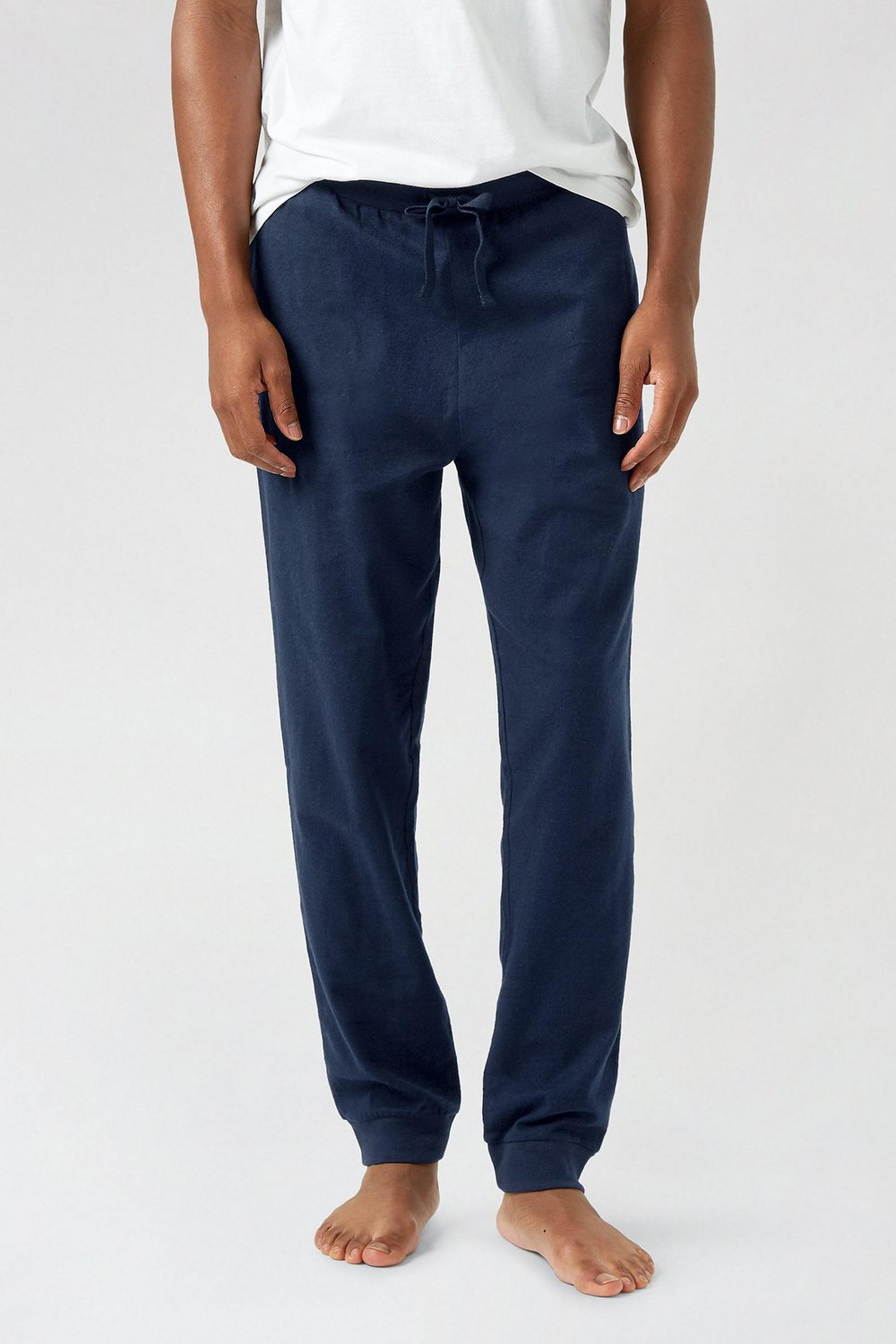 Navy Cuffed Check Pyjama Bottoms