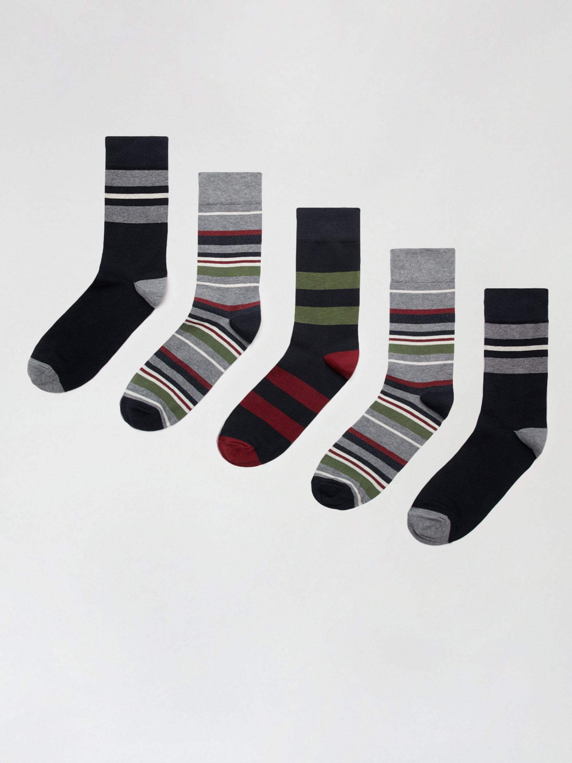 5 Pack Multi Colour Rugby Stripe Print Socks