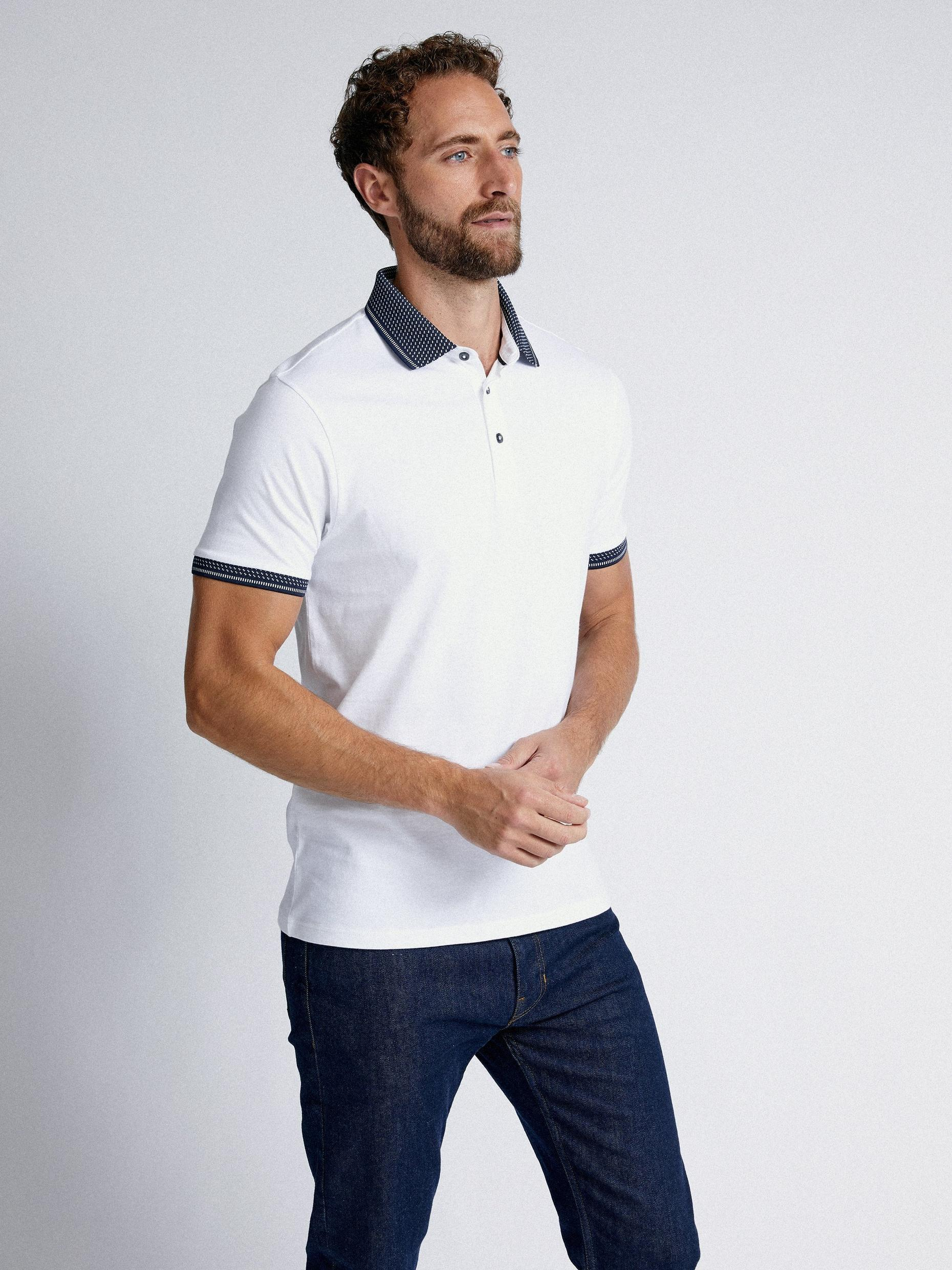 White Jacquard Collar Polo Shirt