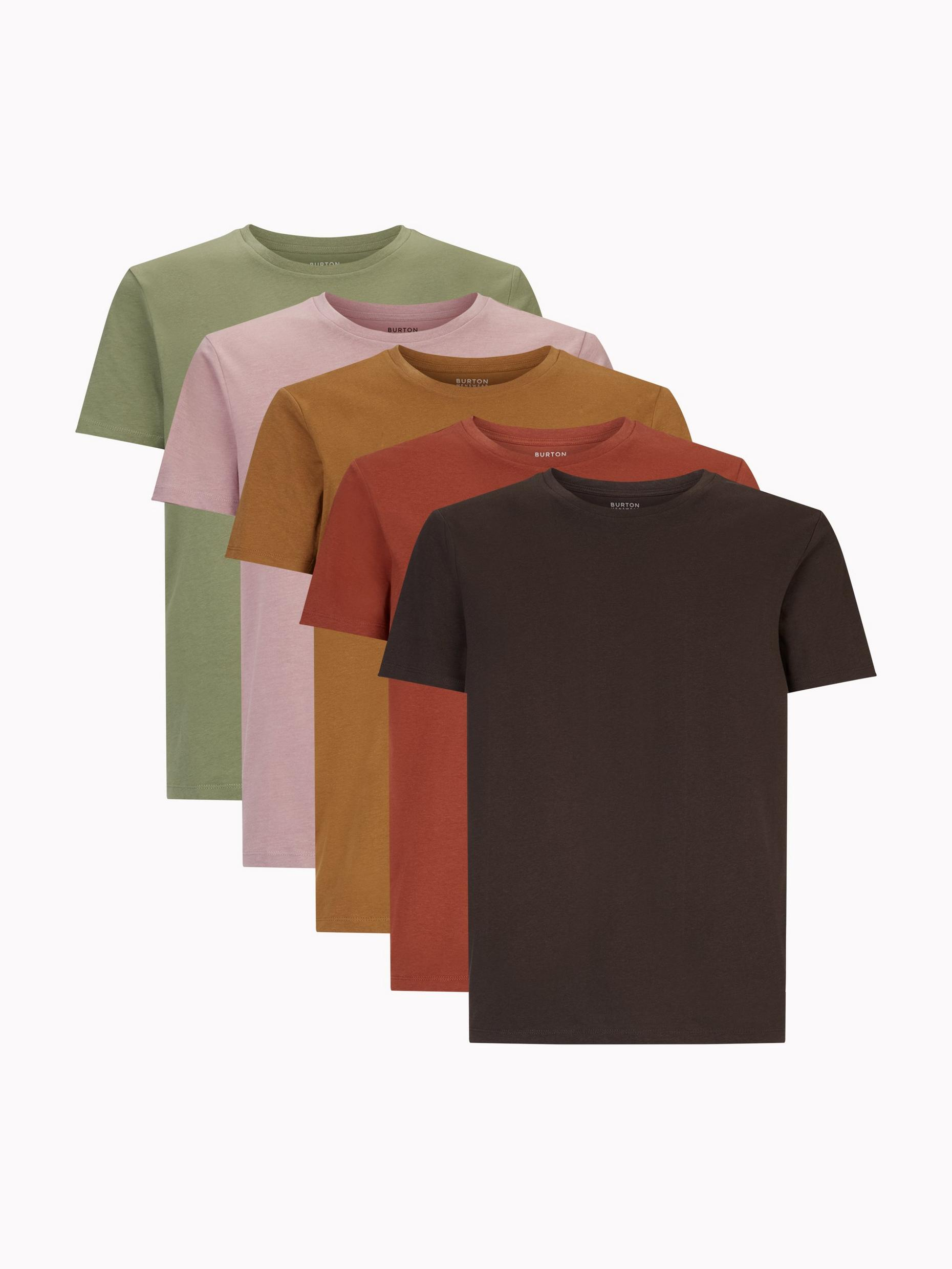 5 Pack Pink Khaki Coffee Red Brown Organic T-Shirt
