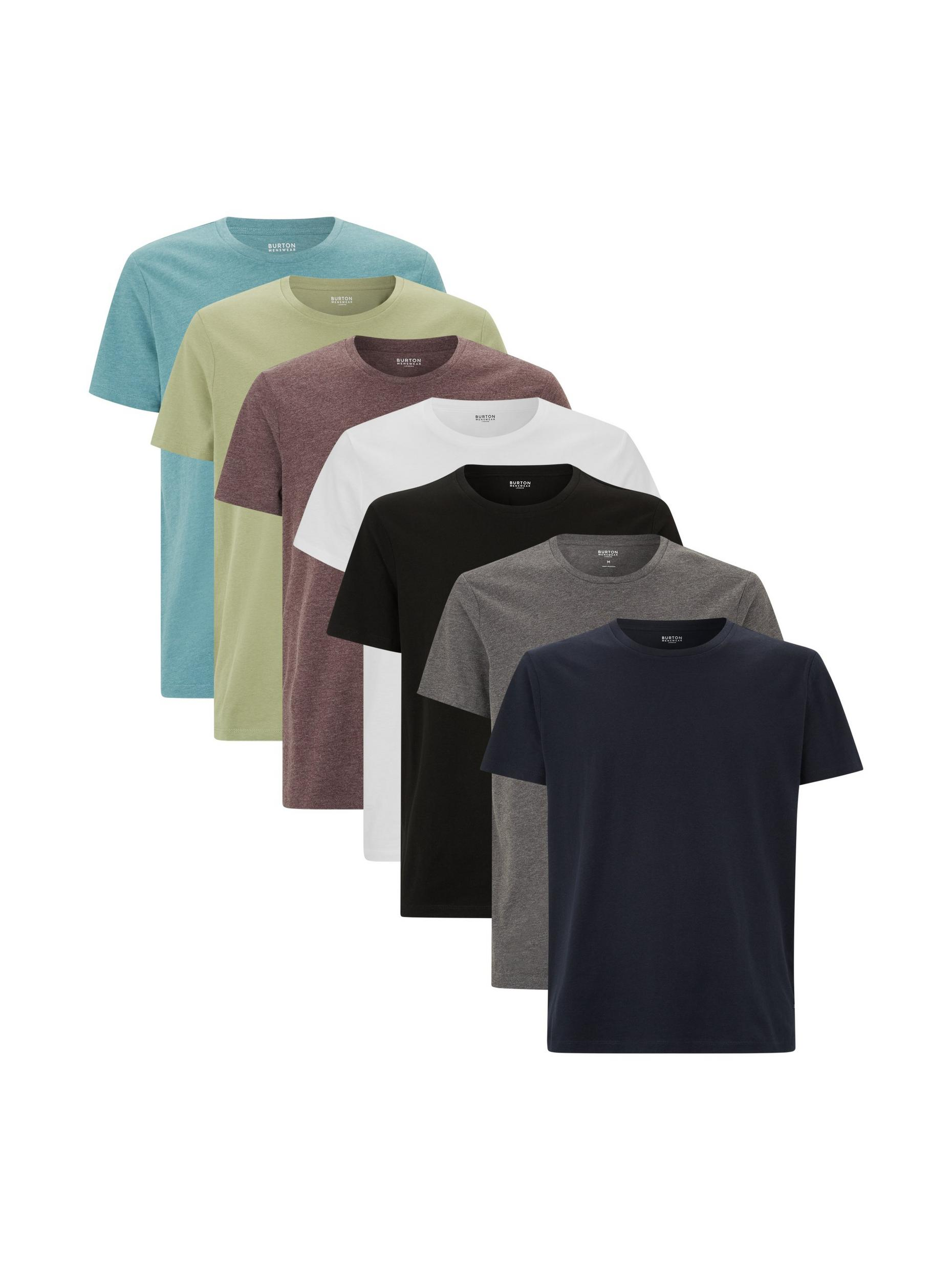 7 Pack Assorted Colour Organic T-Shirts