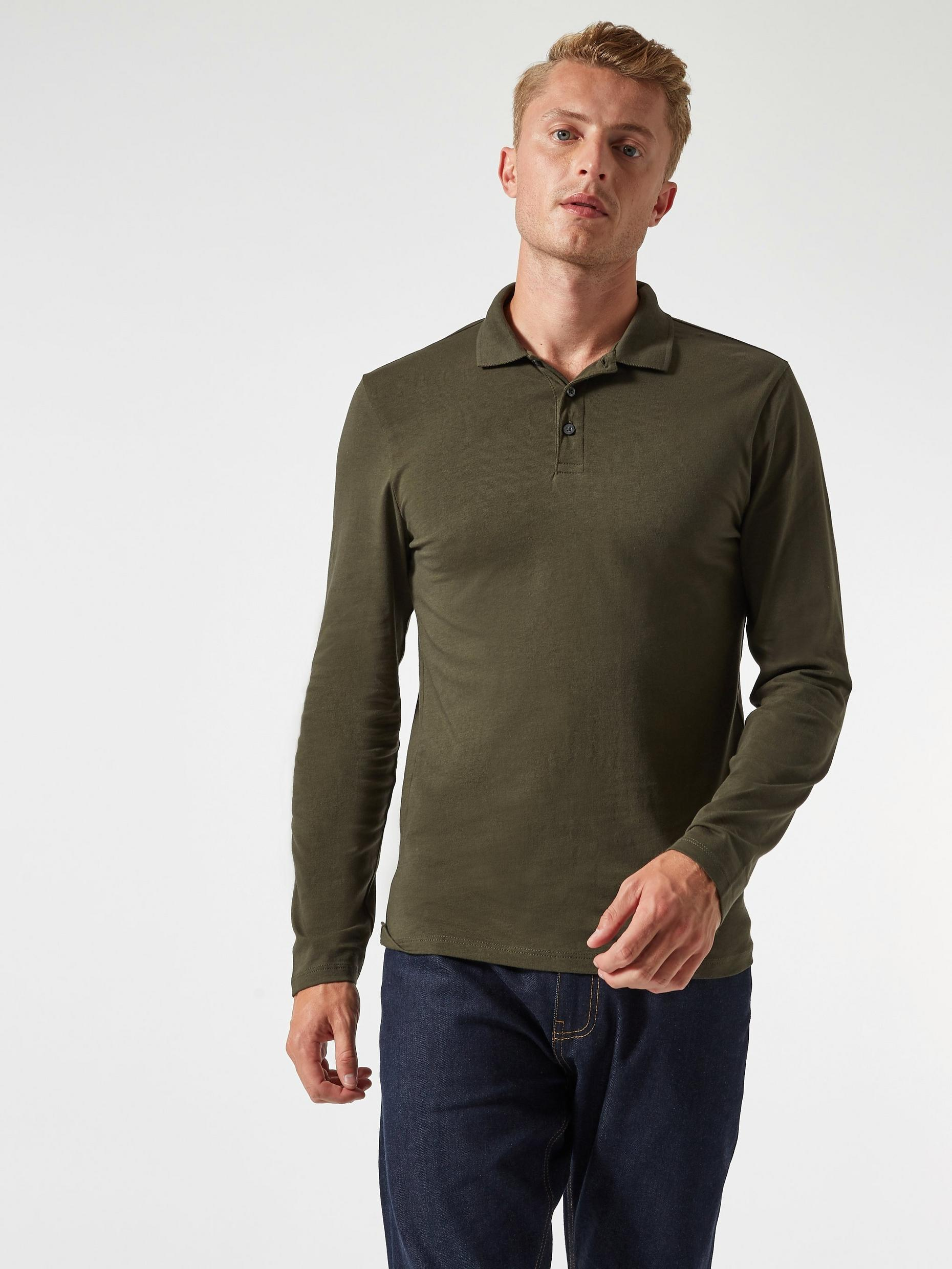 Dark Khaki Long Sleeved Muscle Fit Polo Shirt