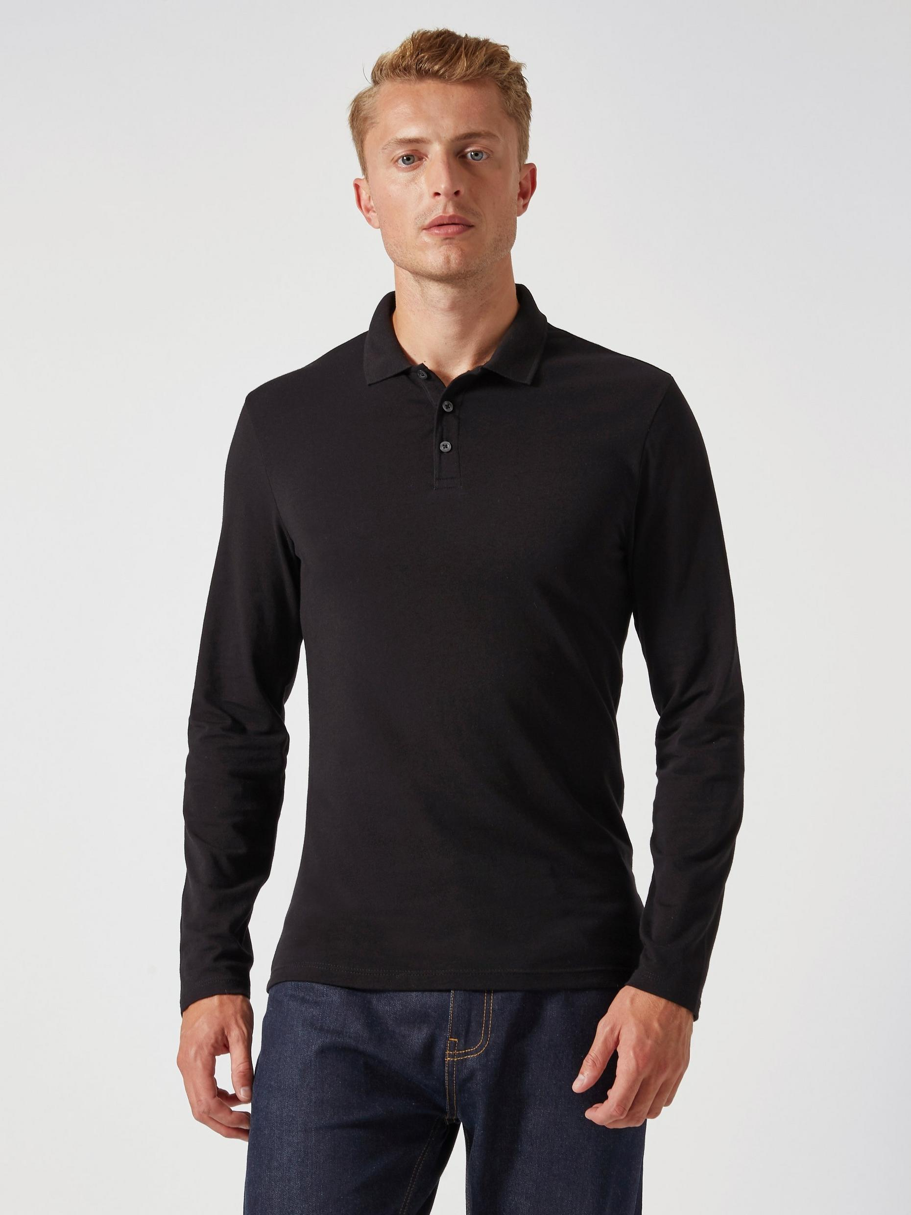 Black Long Sleeved Muscle Fit Polo Shirt