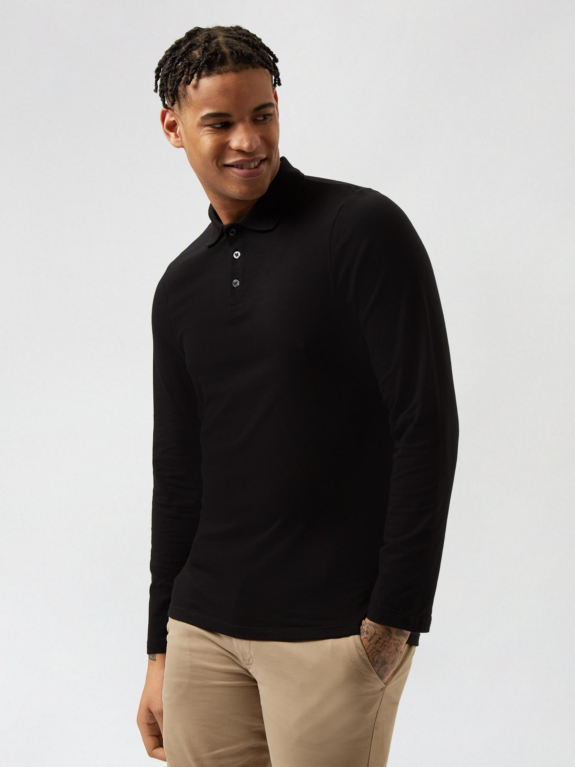 2 Pack Black and Khaki Long Sleeve Muscle Fit Polo
