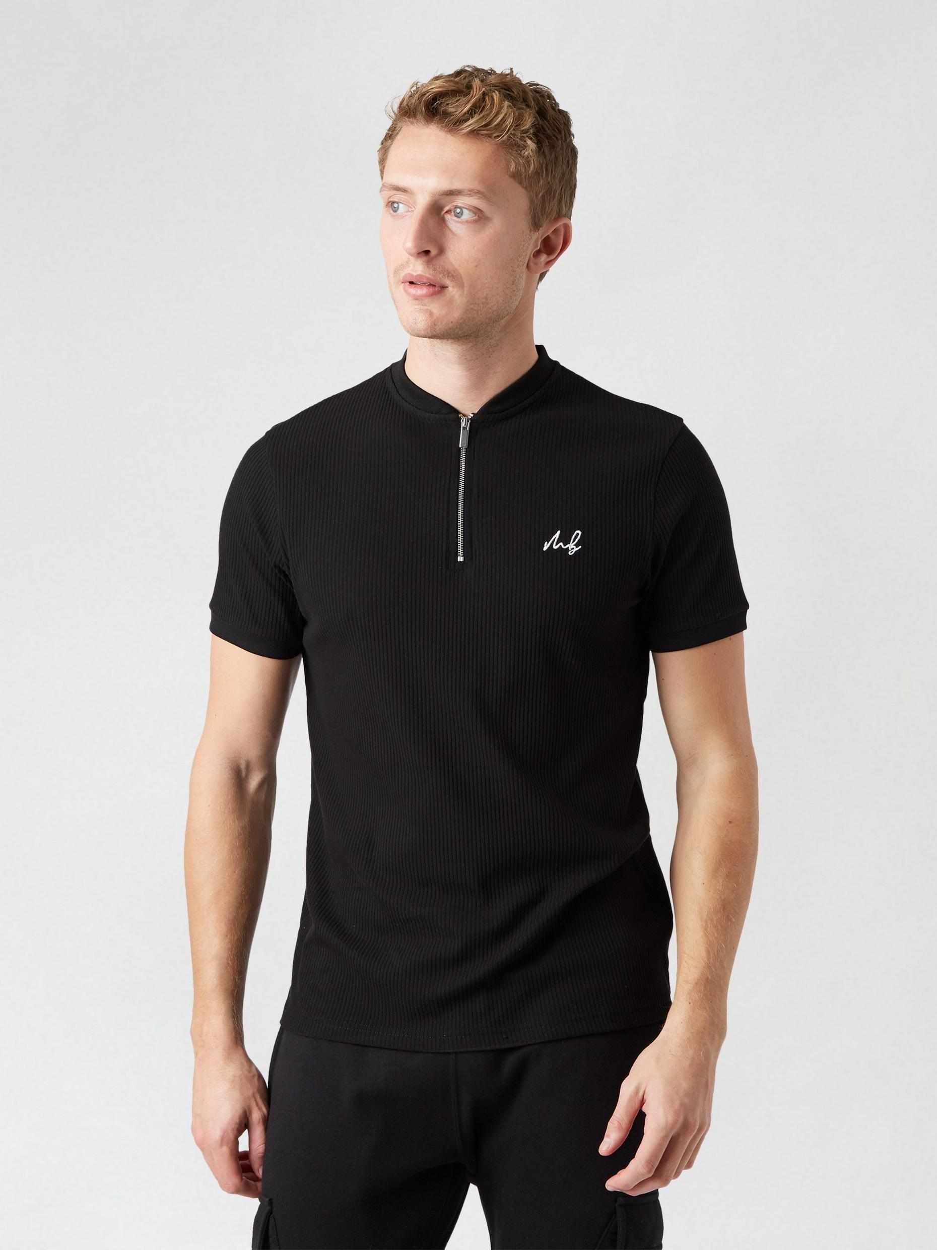 MB Collection Black Quarter Zip Baseball Top