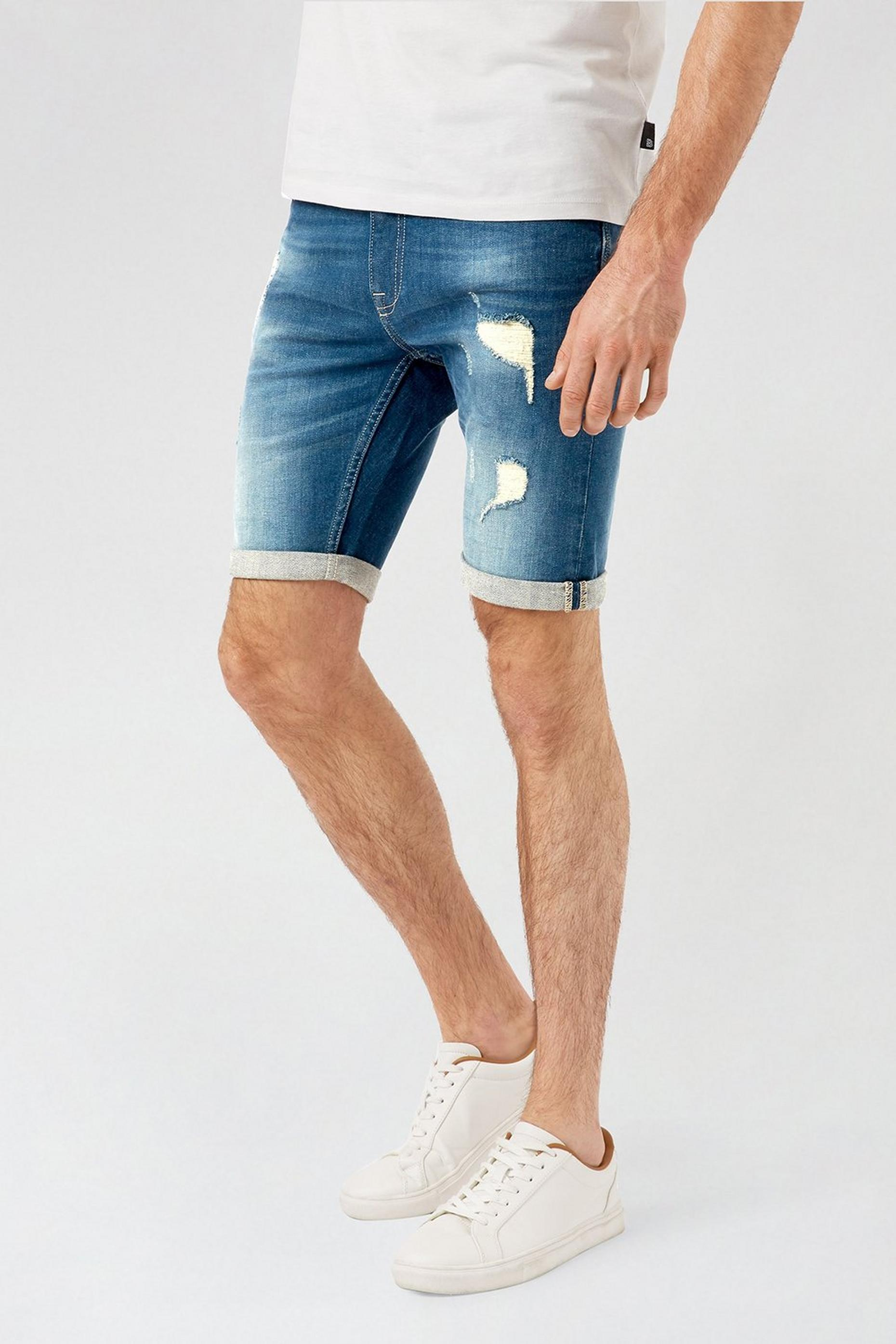 Green Cast Rip and Repair Skinny Shorts