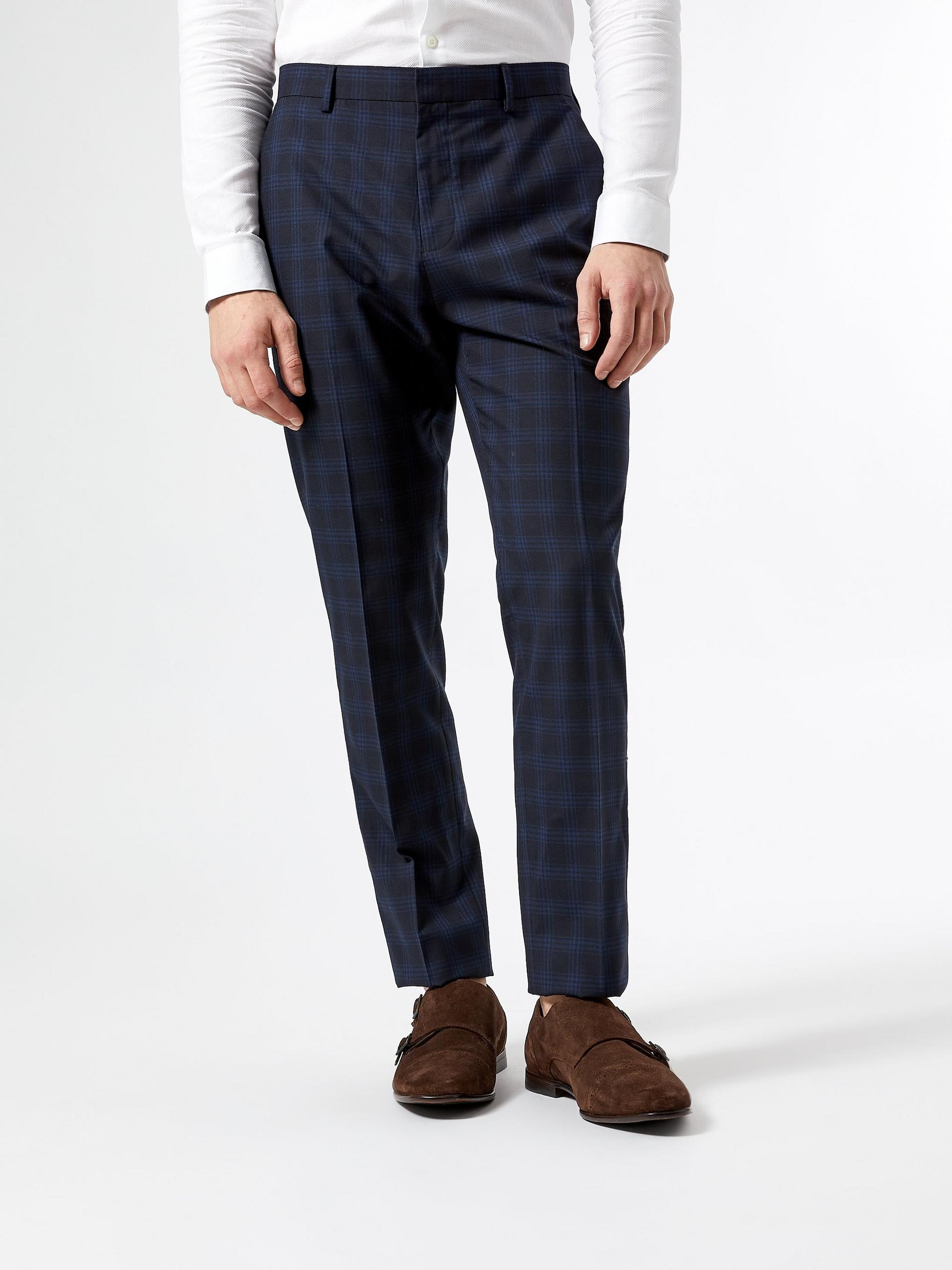Blue Slim Fit Prince Of Wales Check Trousers