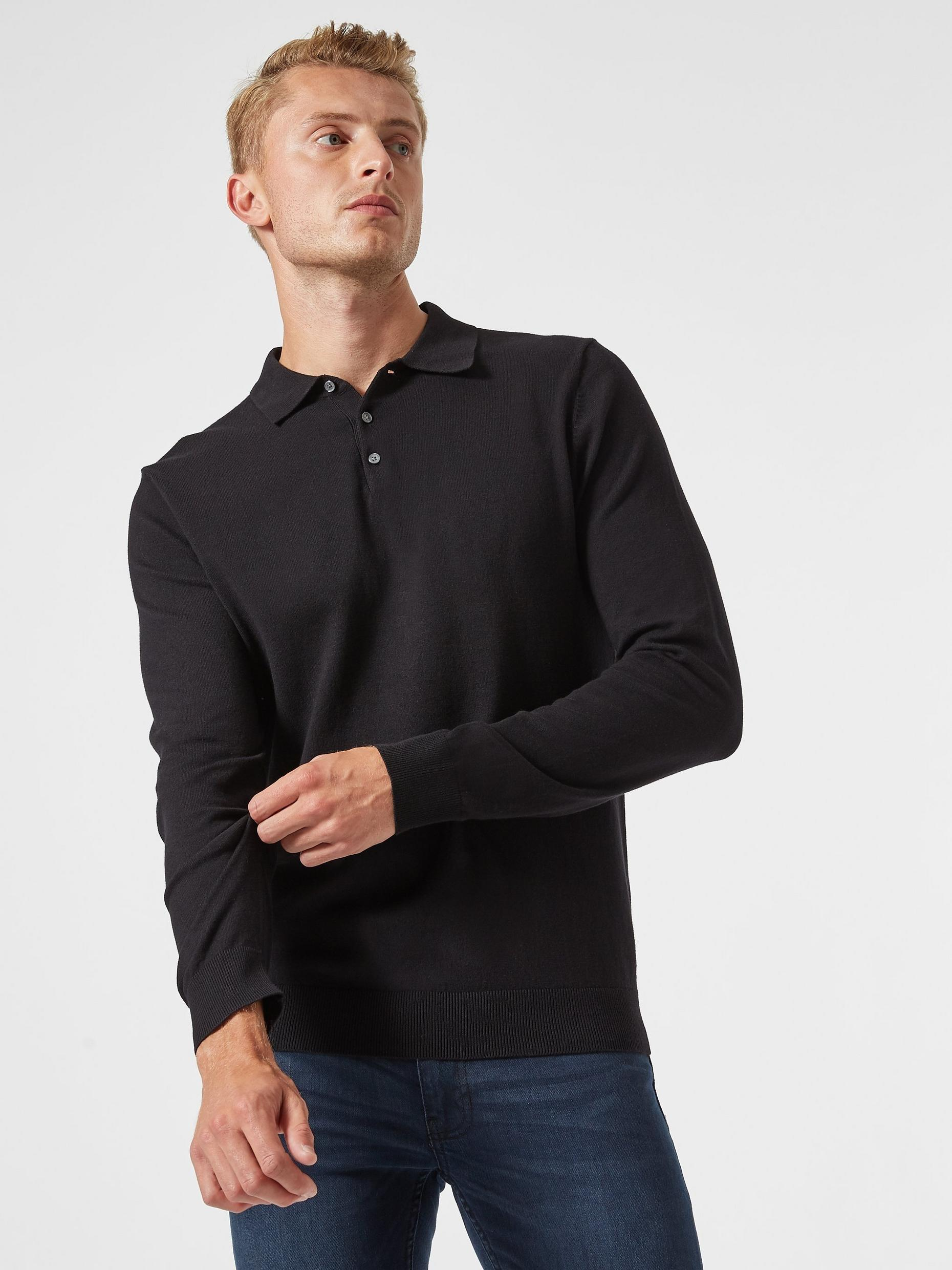 Black Knitted Polo Jumper with Organic Cotton