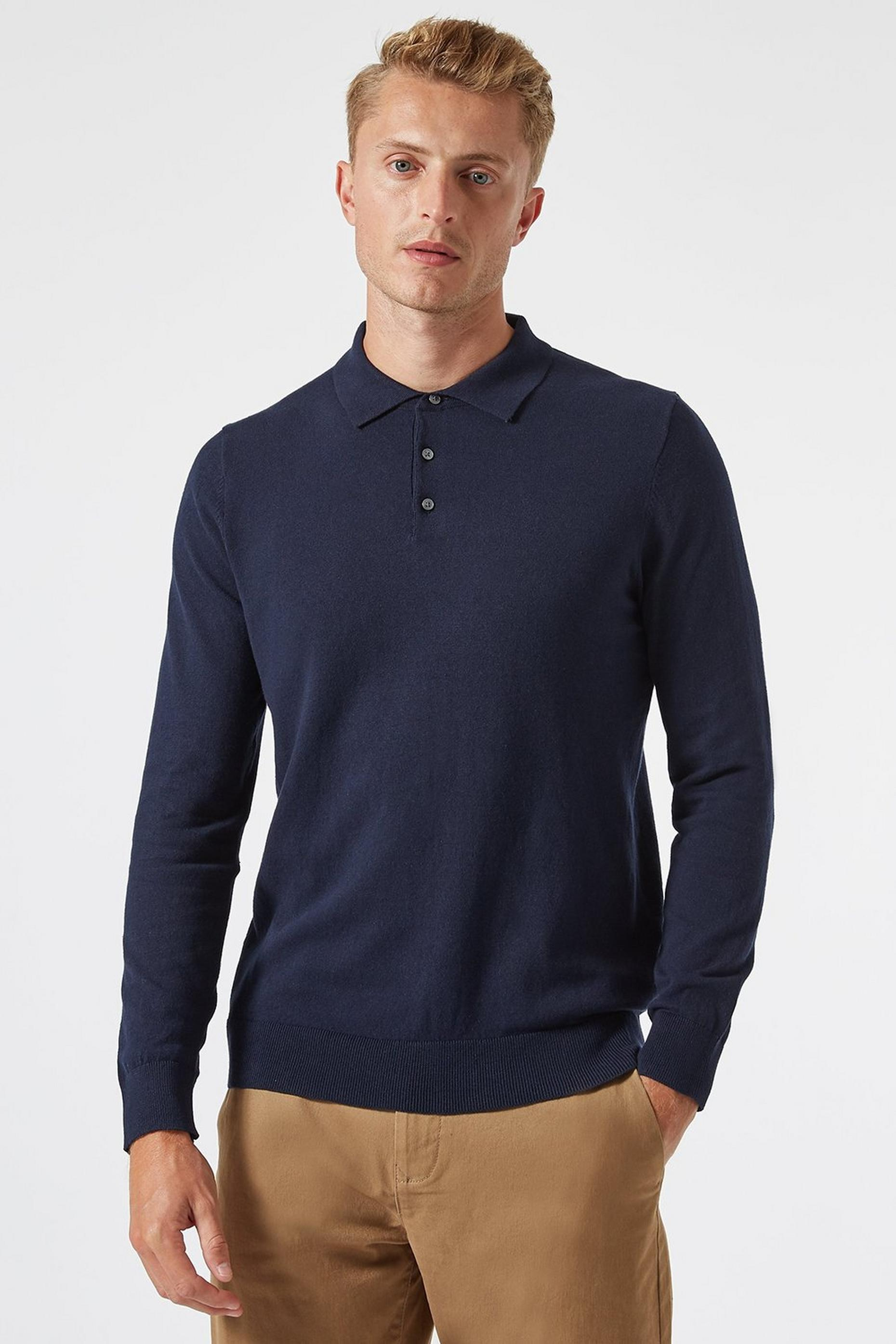 Navy Knitted Polo Neck Jumper with Organic Cotton
