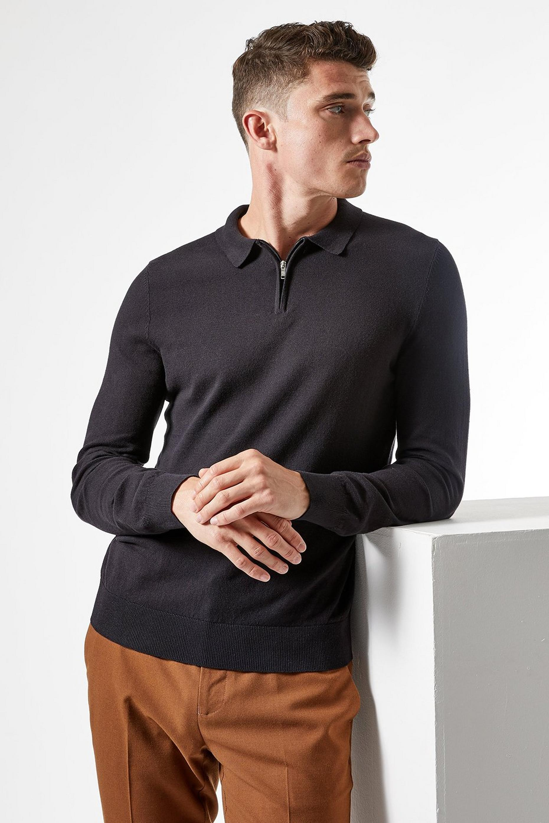 Black Knitted Zip Polo Jumper with Organic Cotton