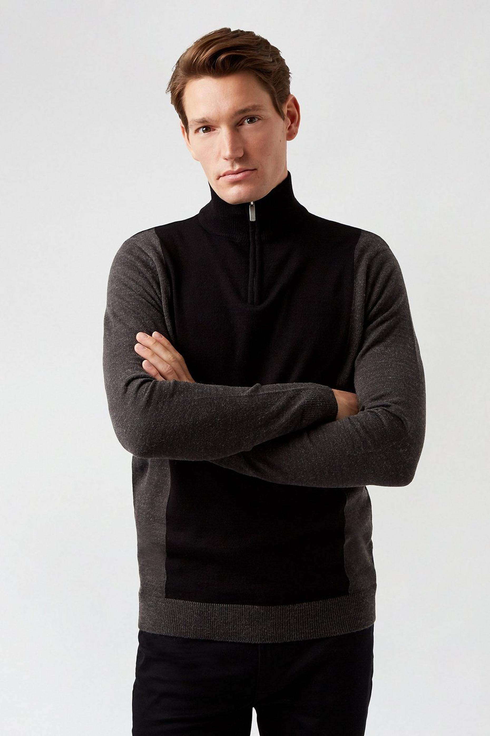 Grey Zip Neck Funnel Neck Jumper
