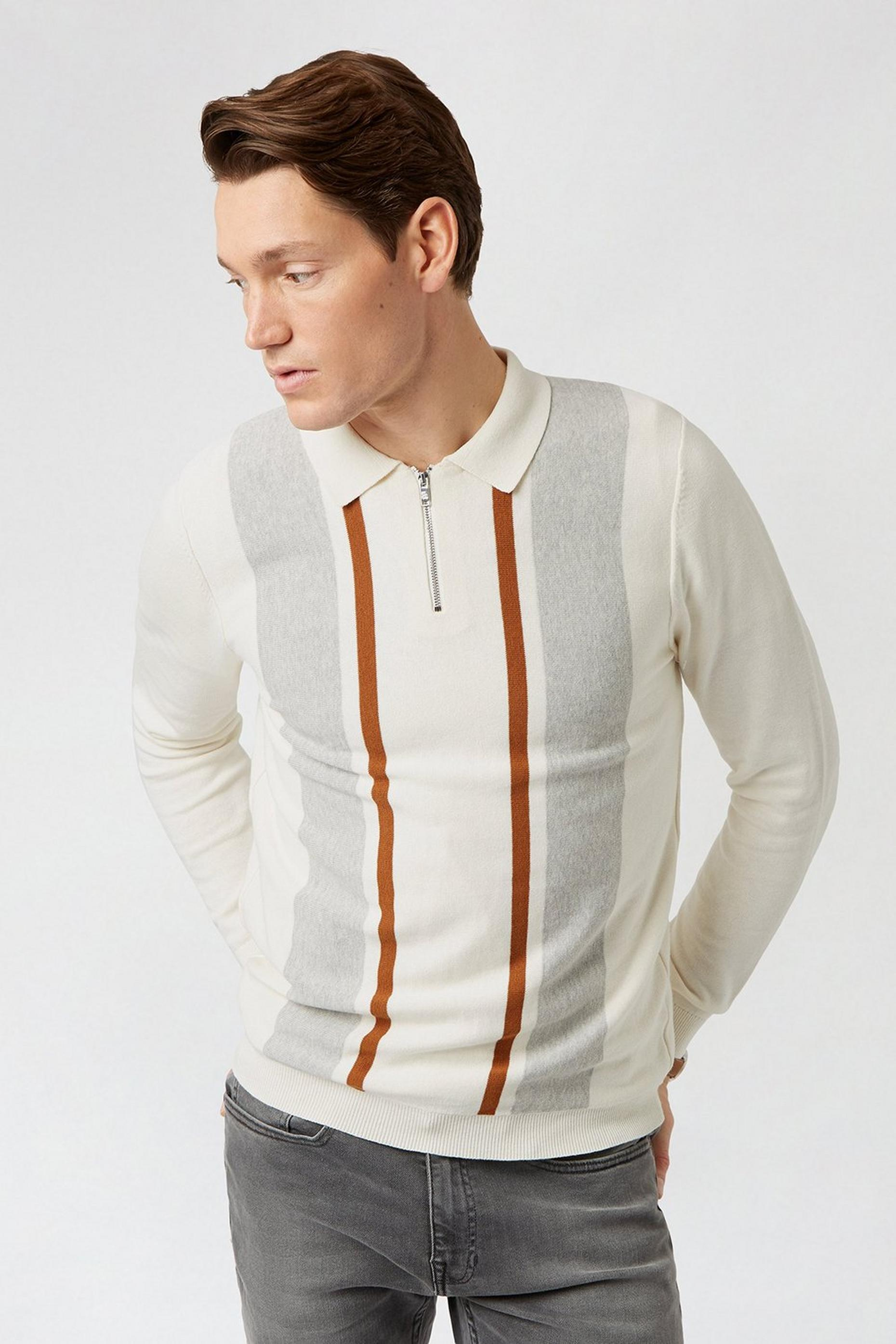 Ecru Stripe Polo Jumper
