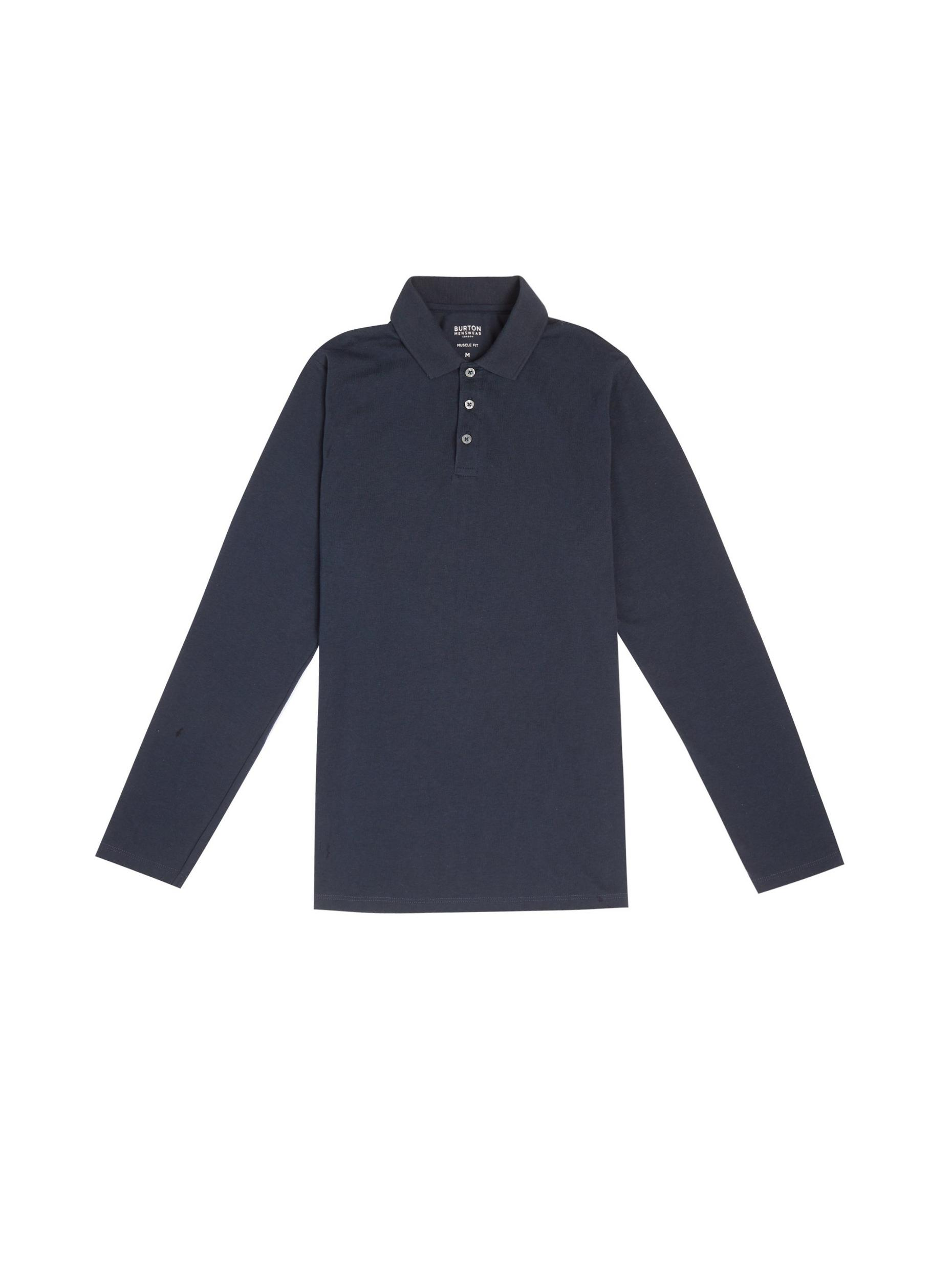 Navy Long Sleeved Muscle Polo Shirt
