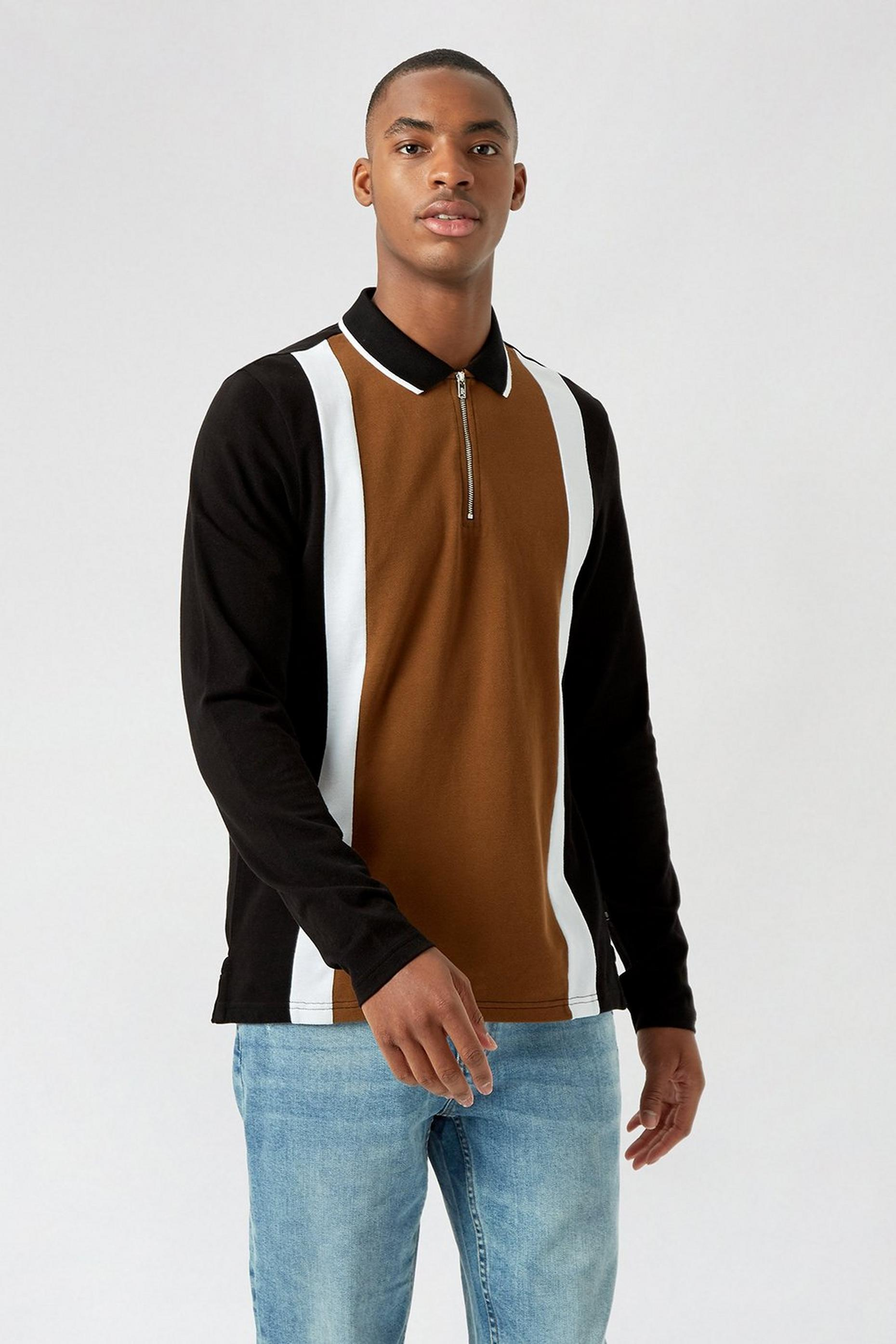 Camel Vertical Panel Cut and Sew Zip Polo