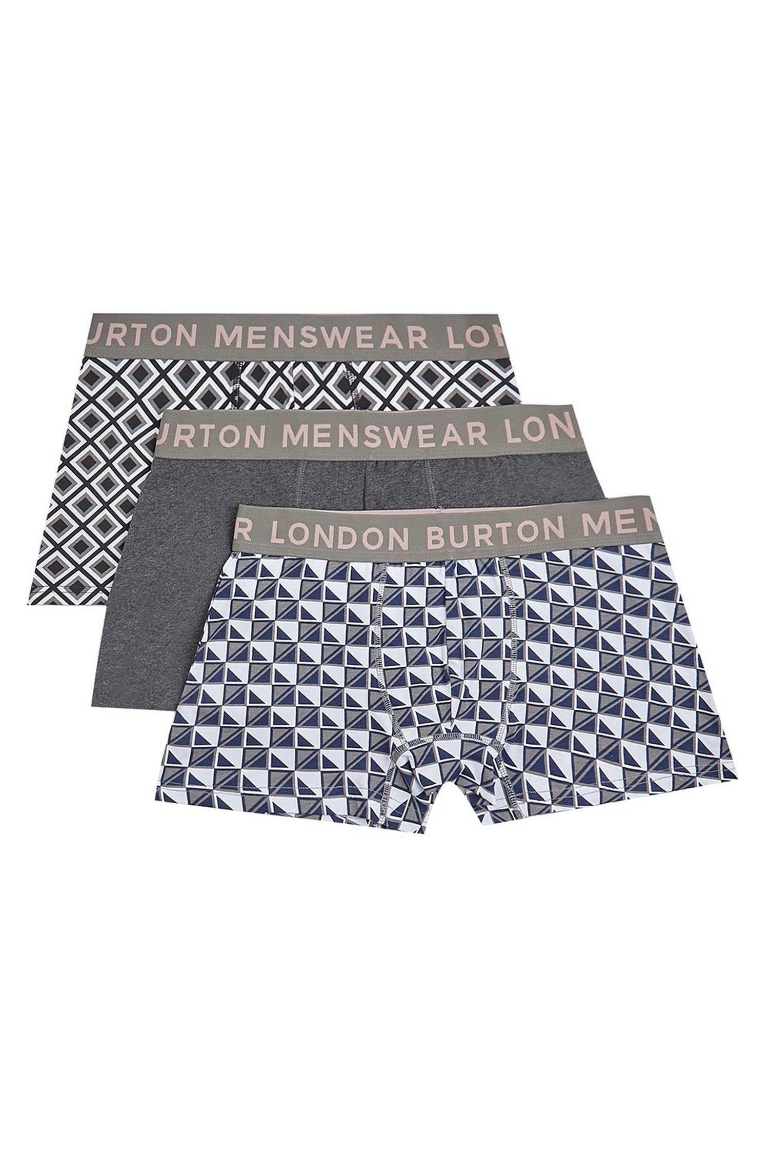 105 3 Pack Monochrome Geometric Print Trunks image number 1