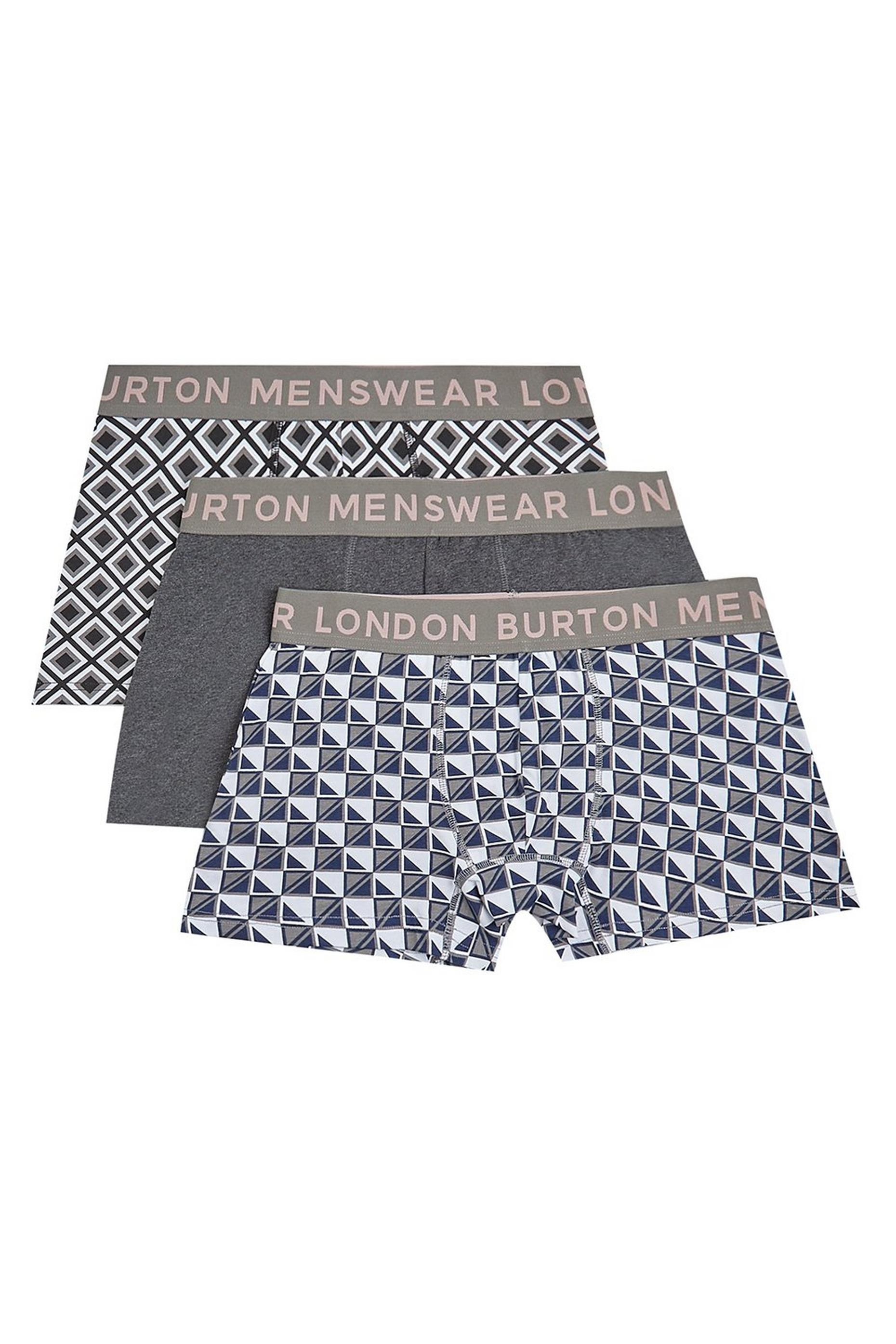3 Pack Monochrome Geometric Print Trunks